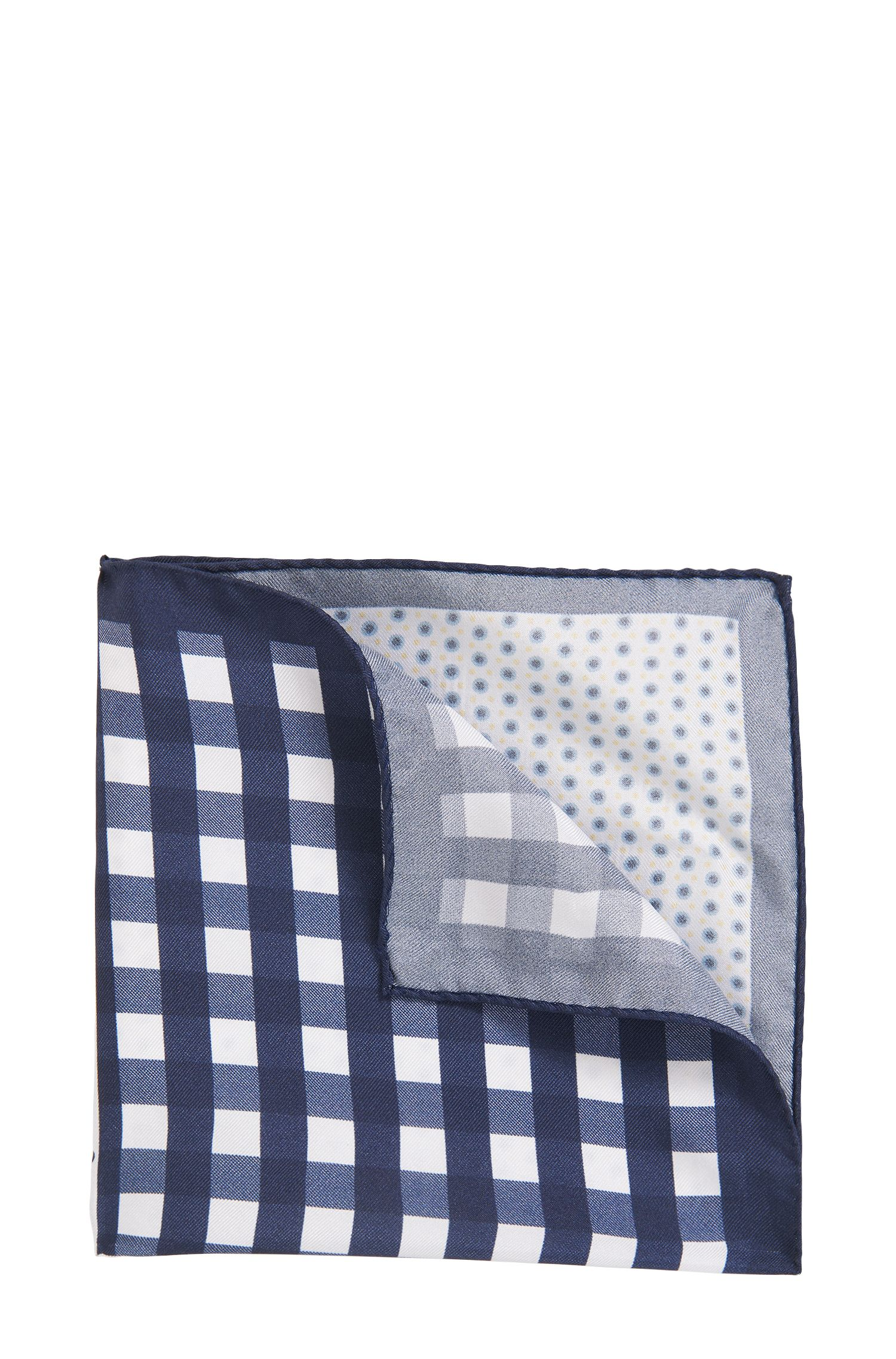 Multi-pattern pocket square in pure silk