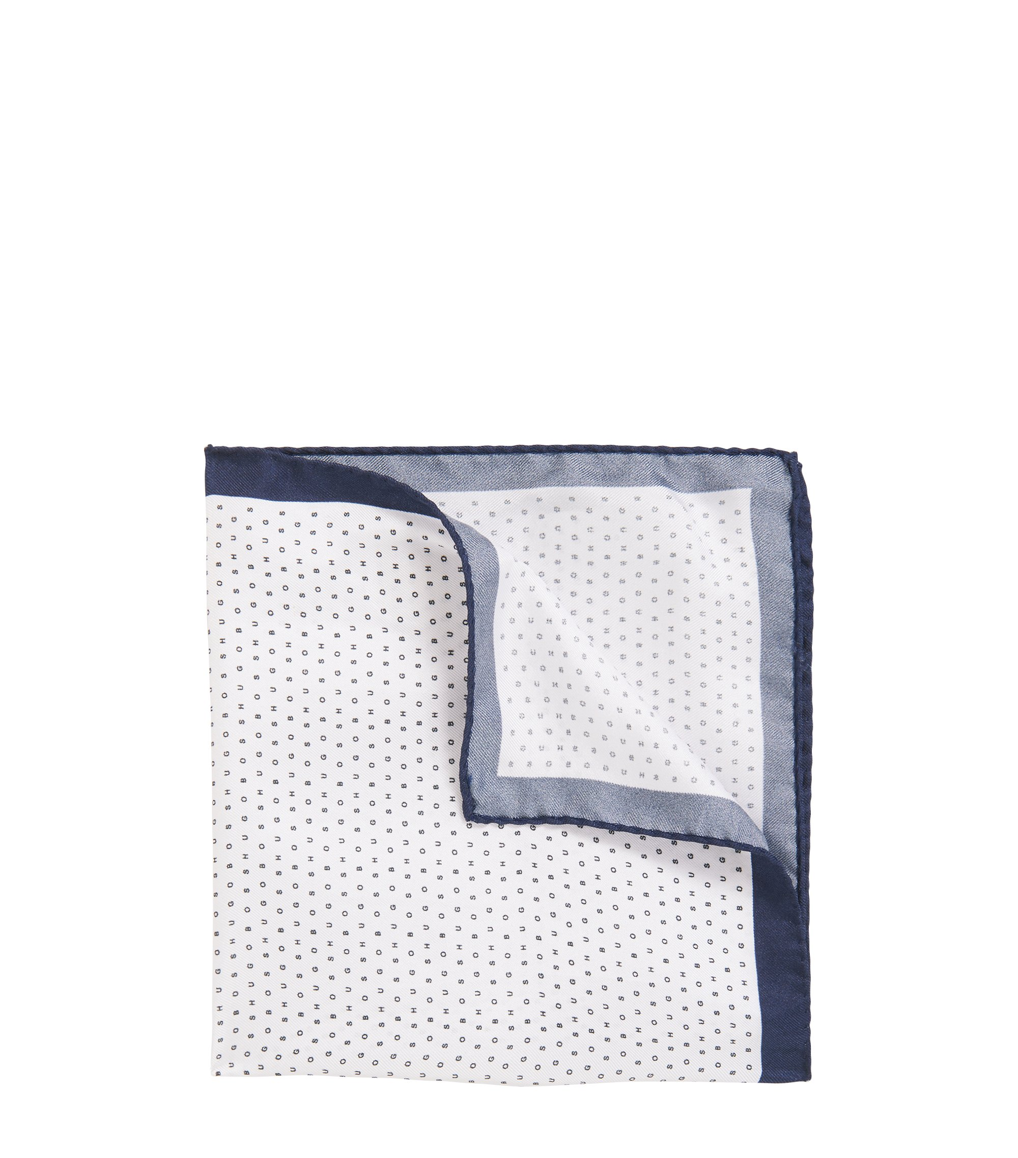 Italian-made silk pocket square with logo print, White