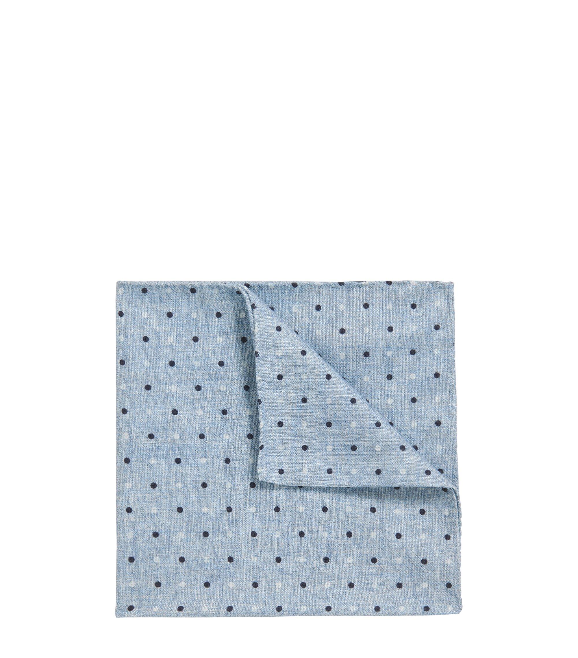 Polka-dot pocket square in a cotton blend, Dark Blue