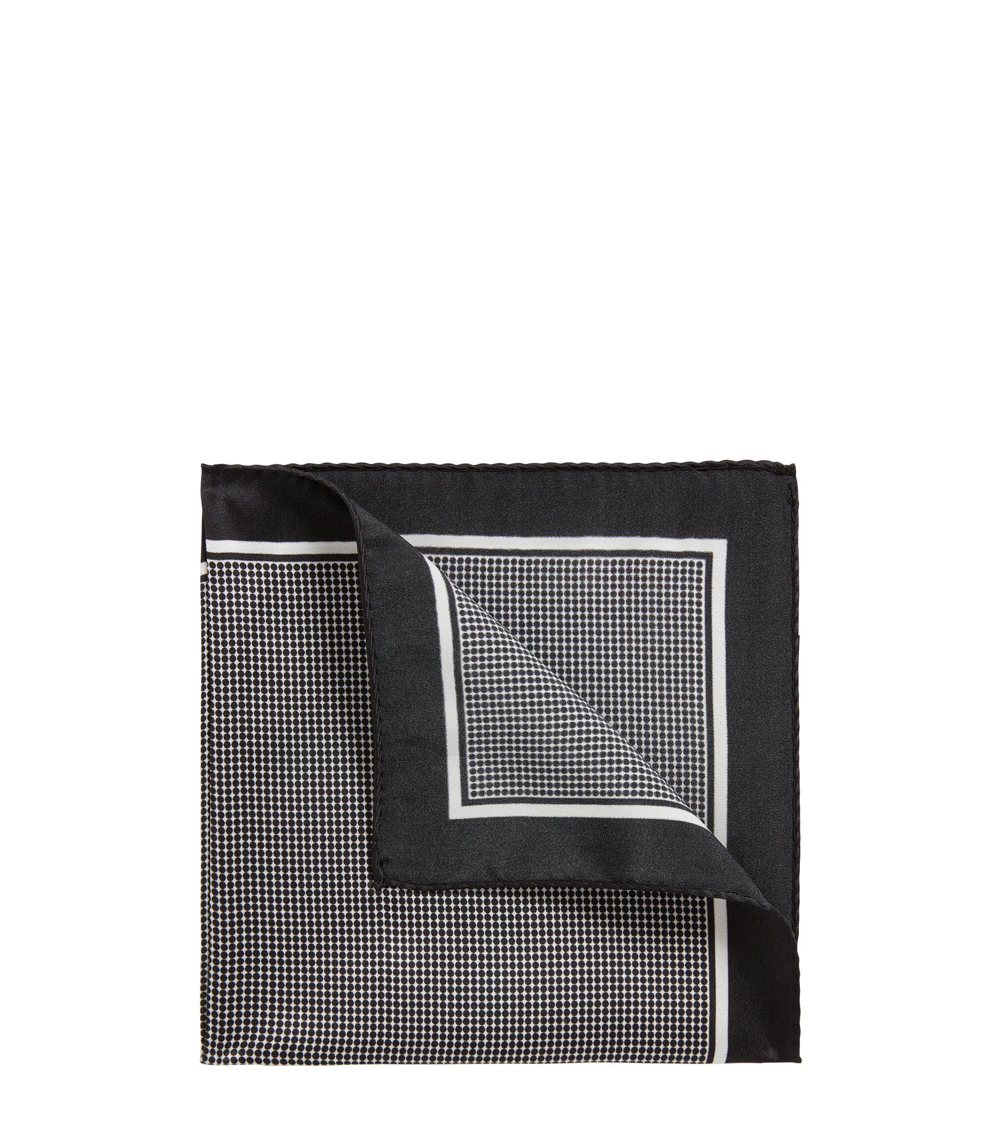 In Italien gefertigtes Einstecktuch aus Seide mit Punkten, Schwarz