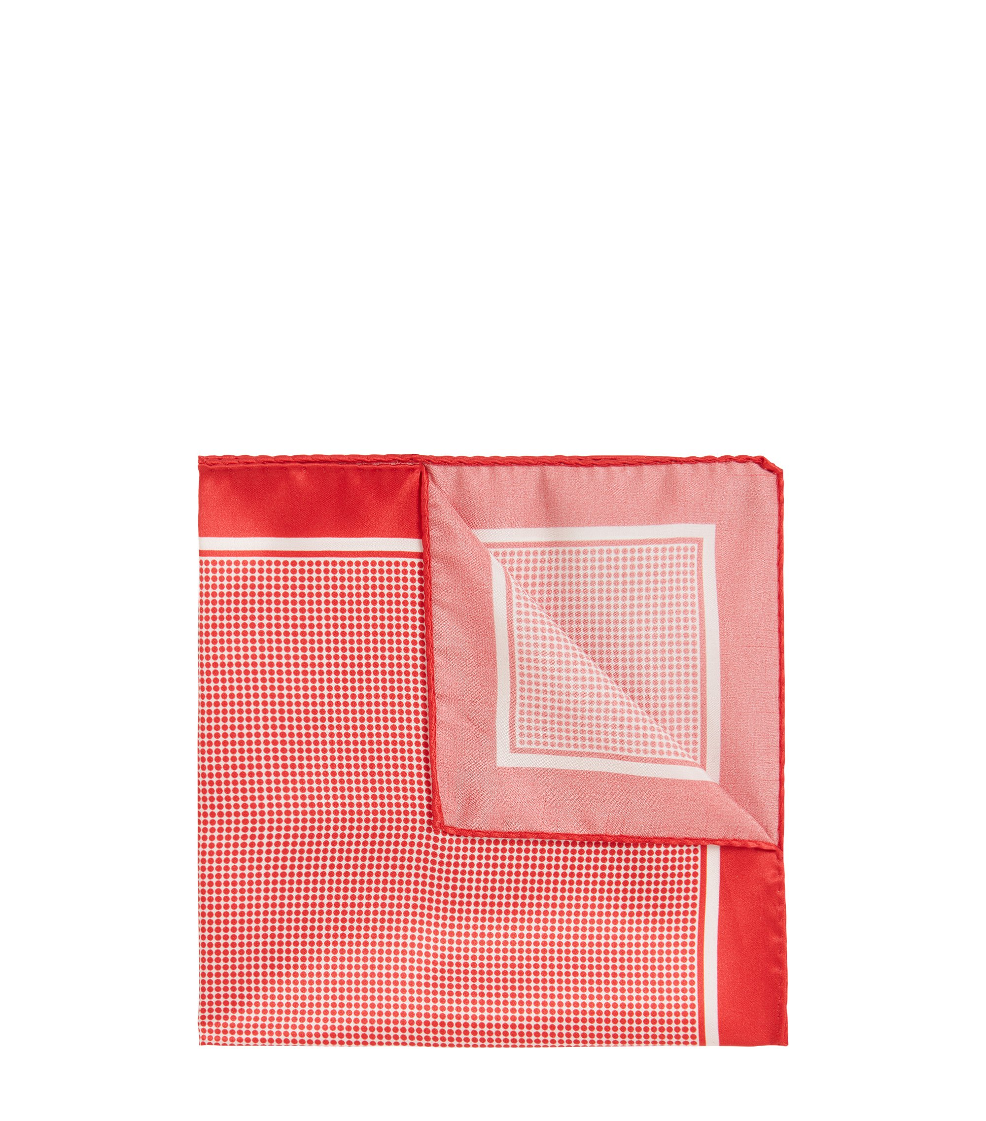 In Italien gefertigtes Einstecktuch aus Seide mit Punkten, Rot