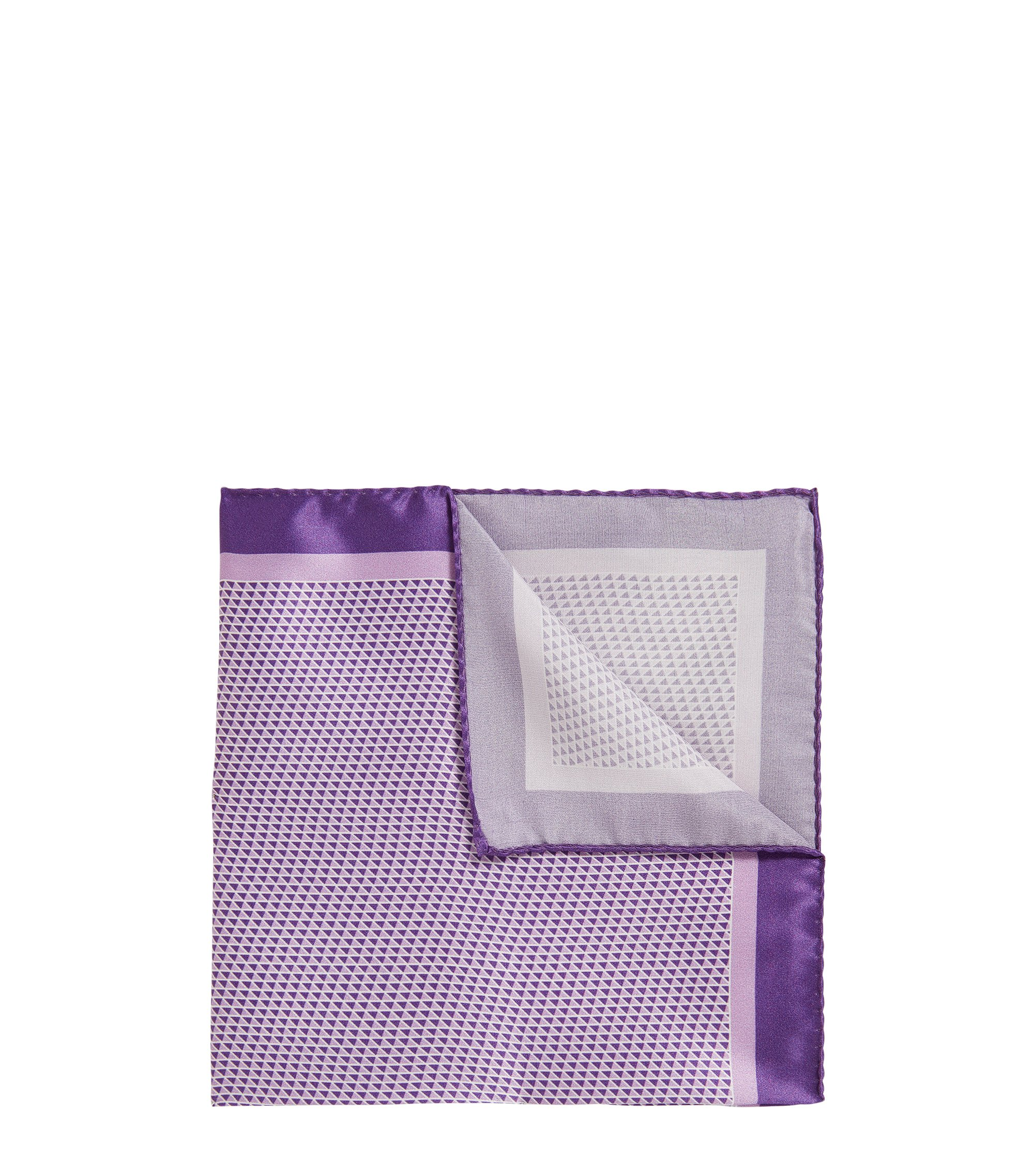 Italian-made geometric-printed pocket square in pure silk, Purple