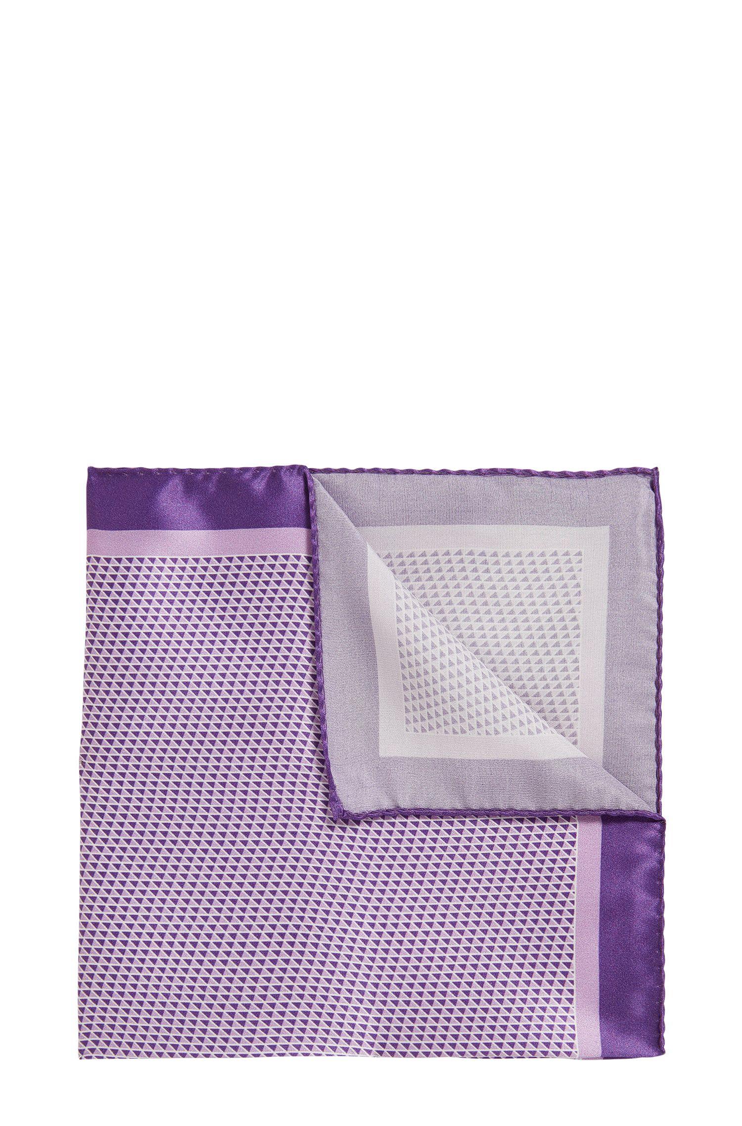 Pochette en pure soie à imprimé géométrique confectionnée en Italie