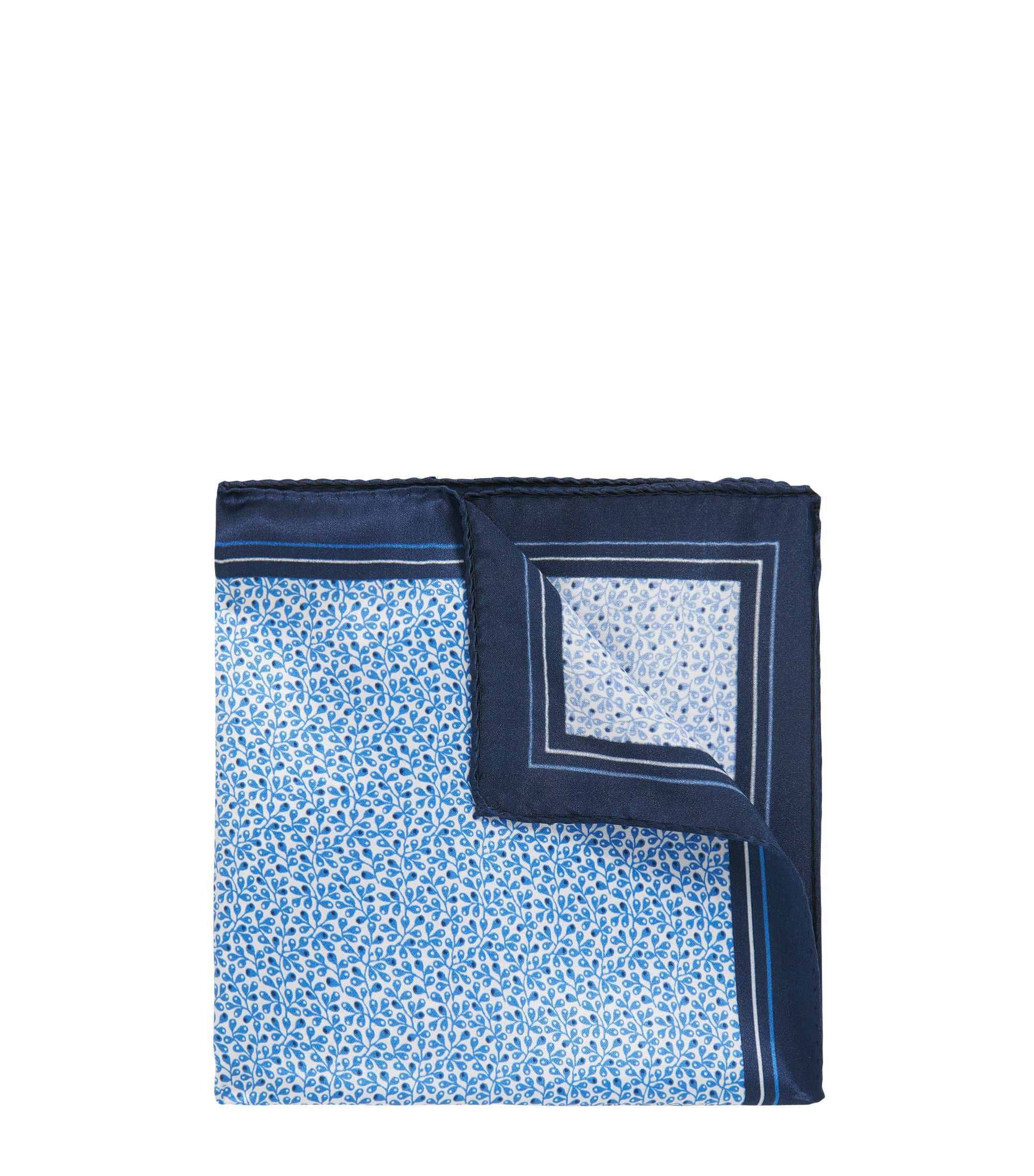 Italian-made printed silk pocket square , Blue