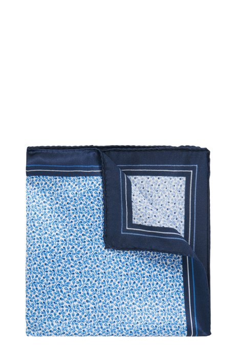 Italian-made silk pocket square with logo print BOSS gXT95f