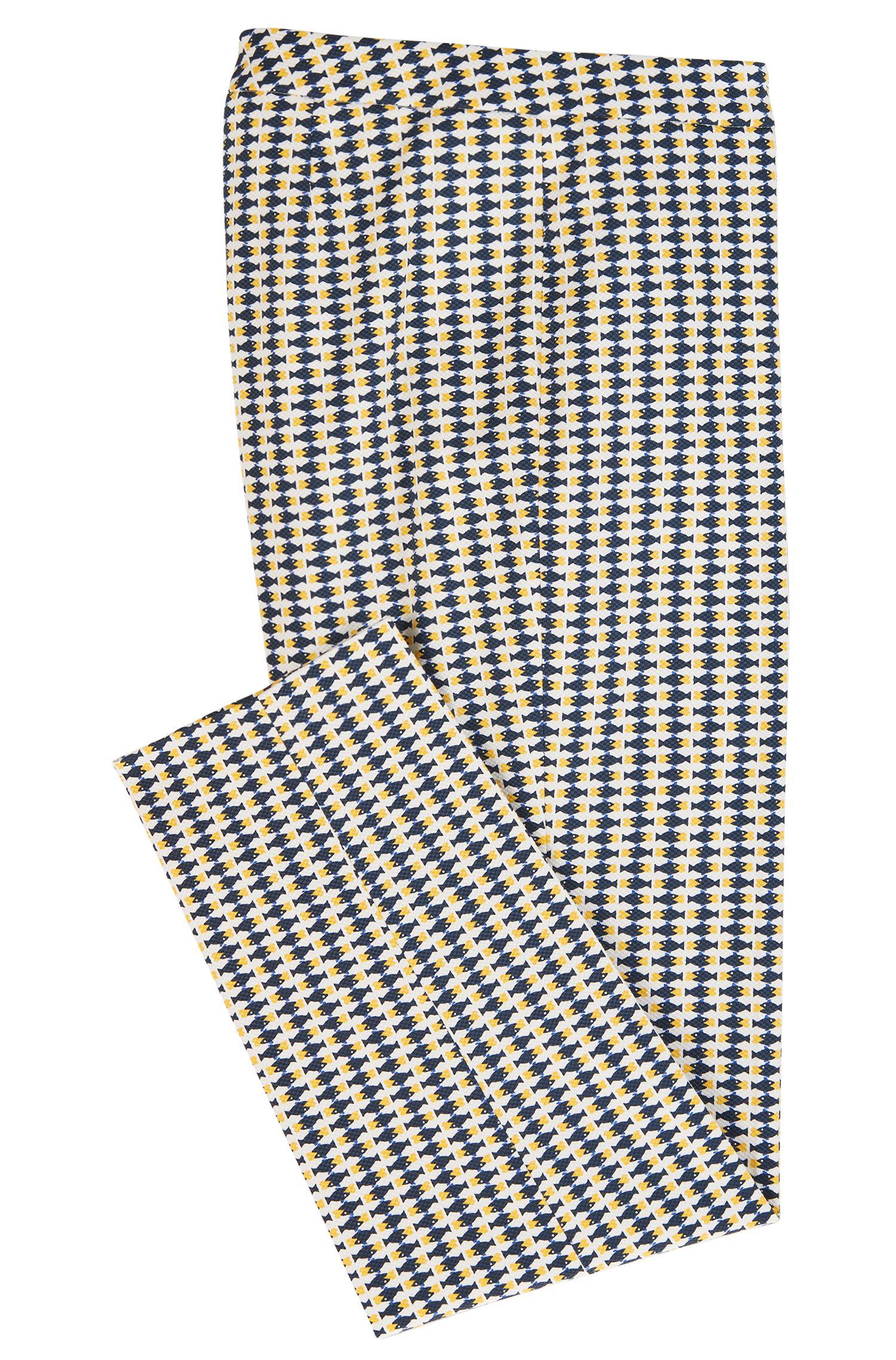 Hose in Cropped-Länge aus elastischem Baumwoll-Piqué mit Fisch-Print
