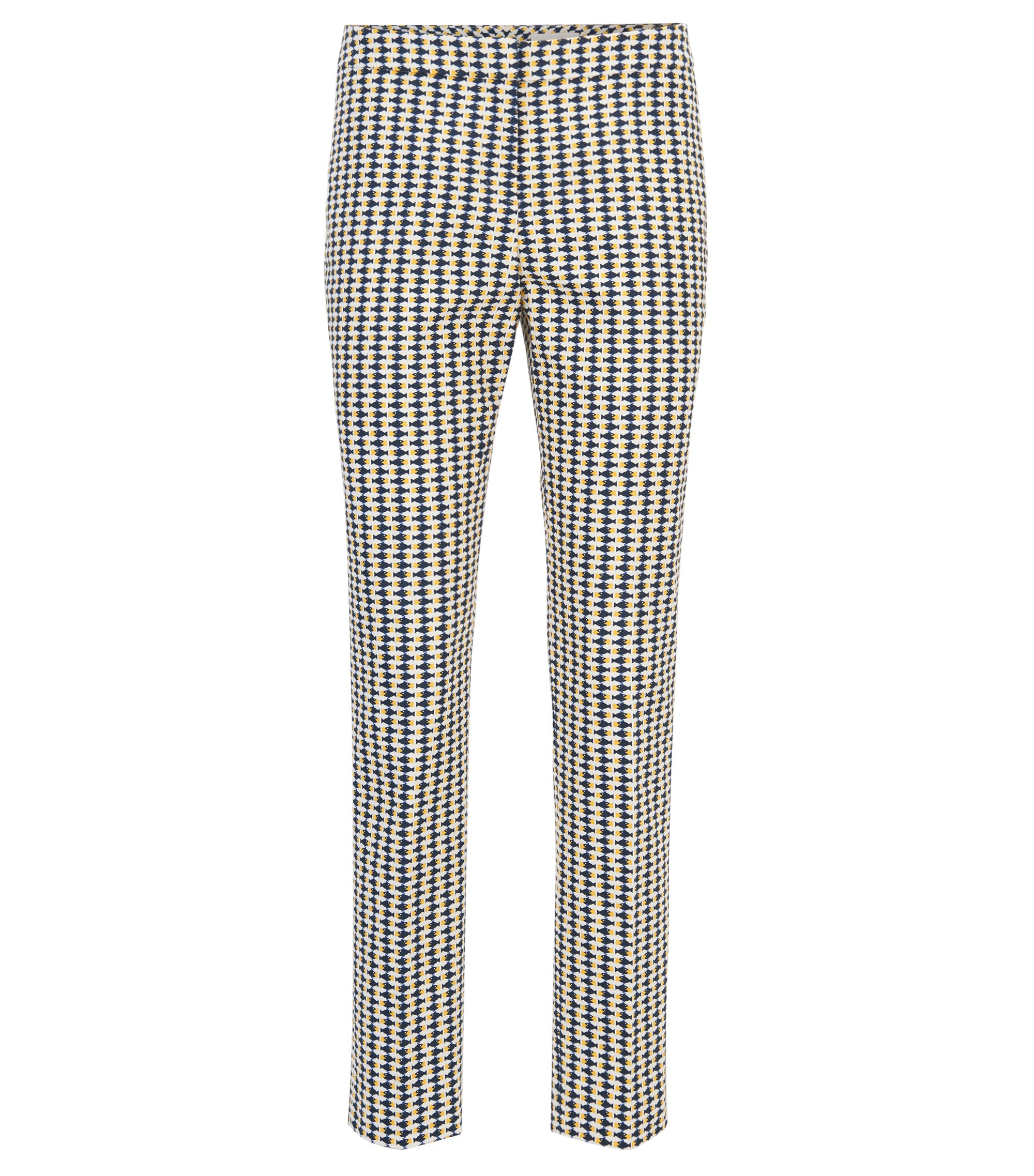 Cropped trousers in fish-print stretch cotton piqué, Patterned