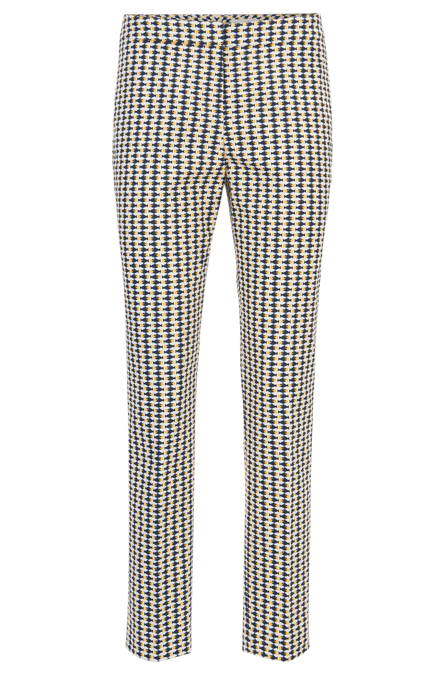 Cropped trousers in fish-print stretch cotton piqué