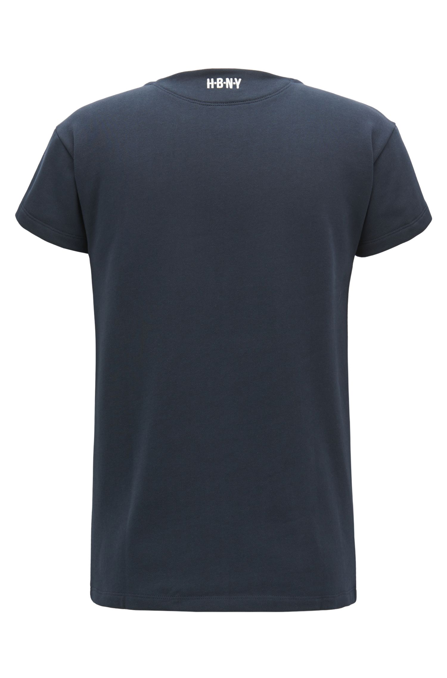 Printed T-shirt in ribbed cotton jersey