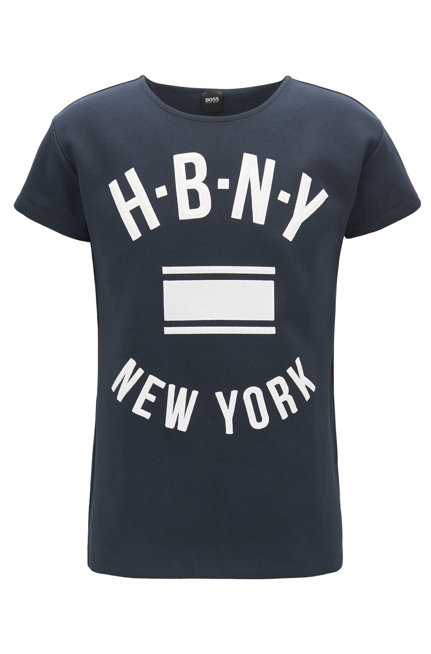 T-Shirt aus gerippter Baumwolle mit Aufdruck