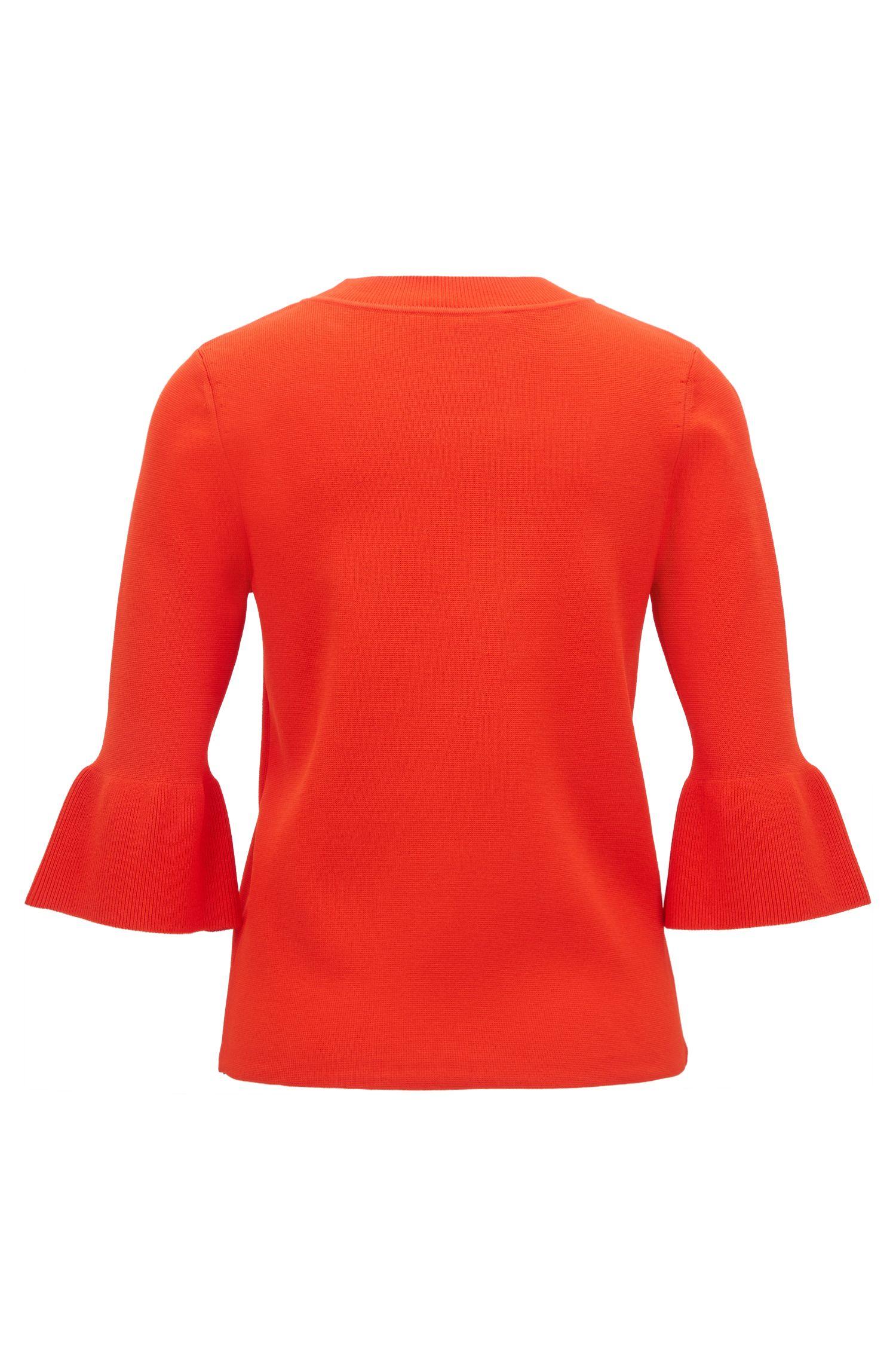 Pullover mit Trompetenärmeln, Rot