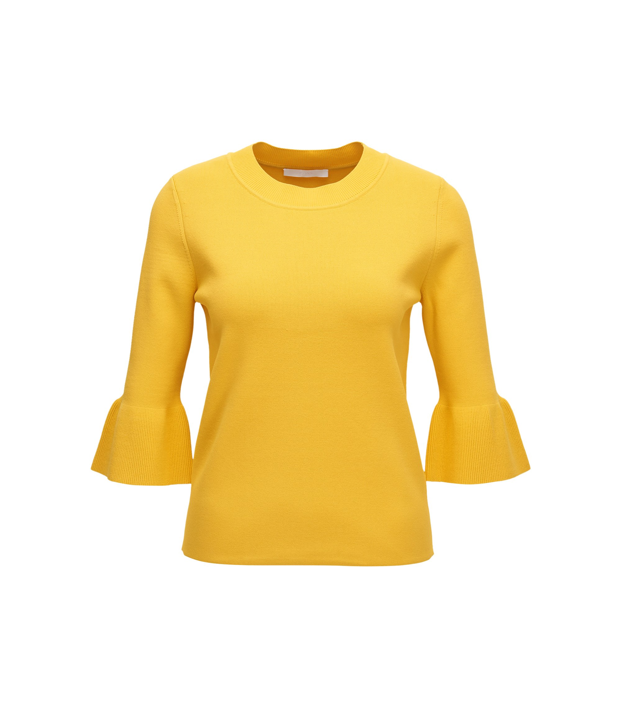 Tulip-sleeve sweater in stretch fabric, Yellow