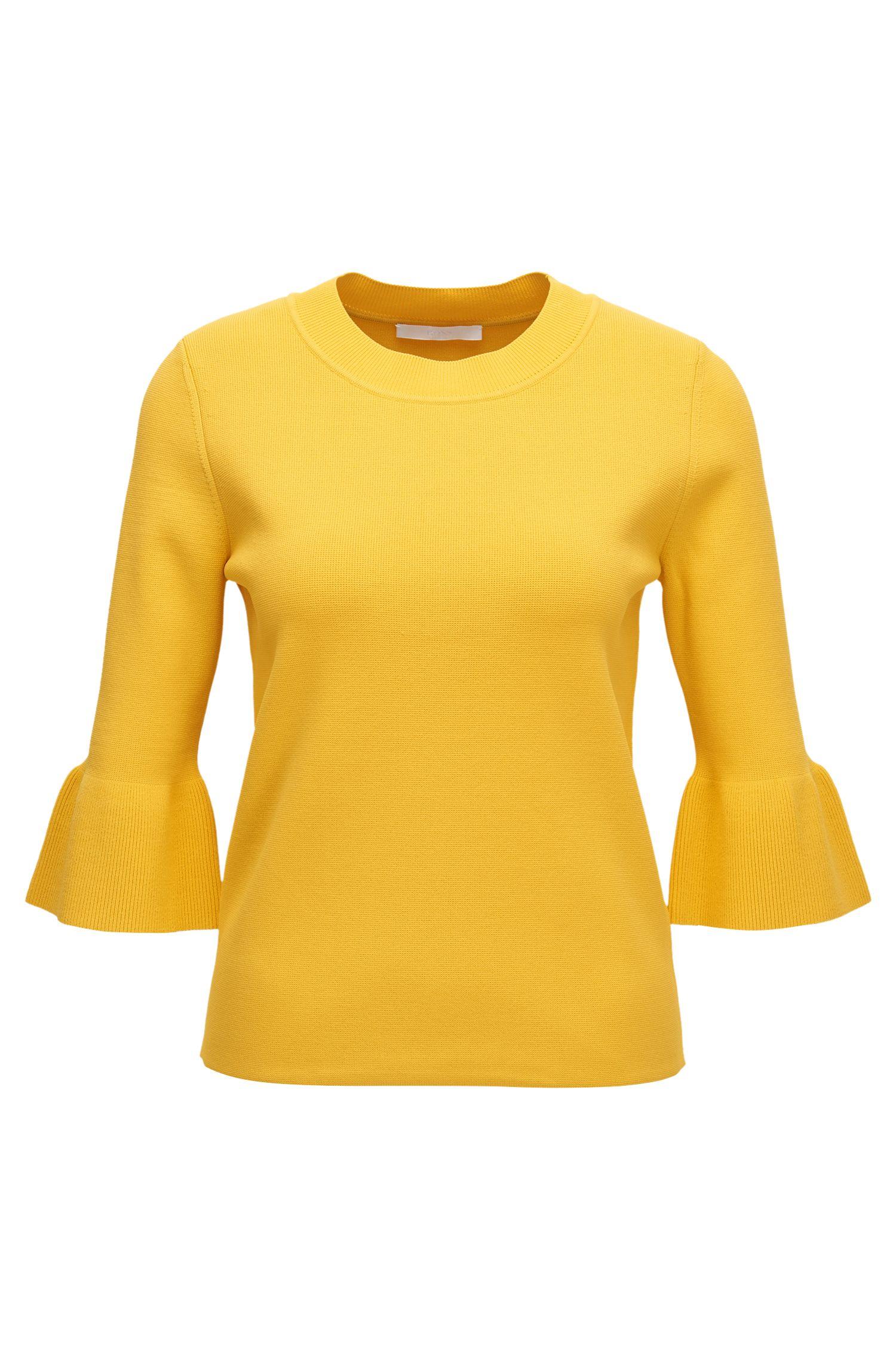 Tulip-sleeve sweater in stretch fabric