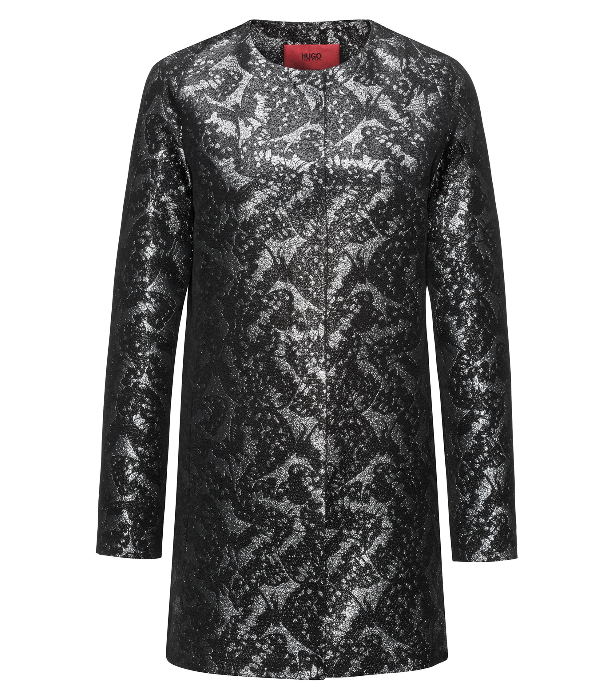 Regular-fit coat in patterned jacquard, Black