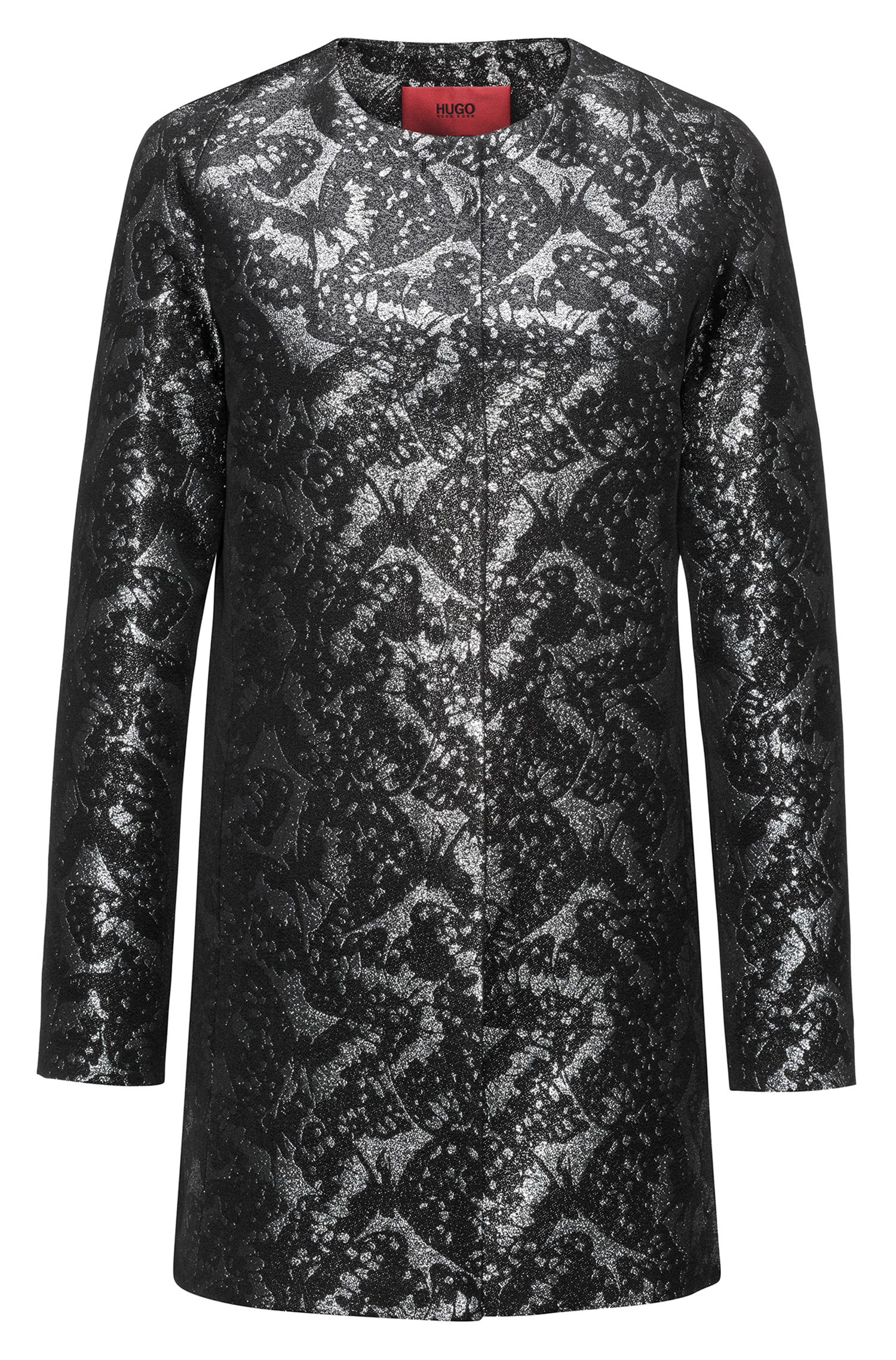 Regular-fit coat in patterned jacquard