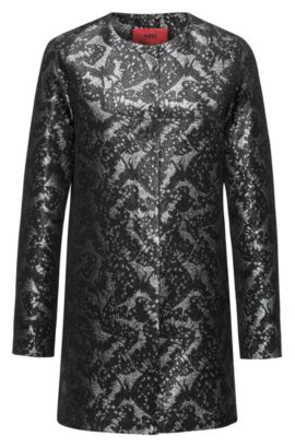 Manteau jacquard Regular Fit à motif, Noir