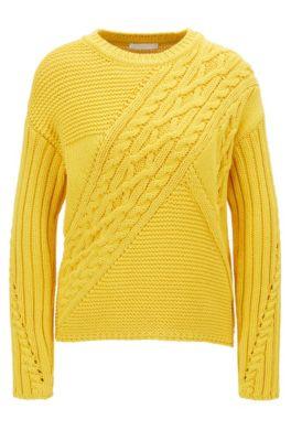 Pullover aus Baumwoll-Mix mit Strickmuster-Patchwork, Gelb