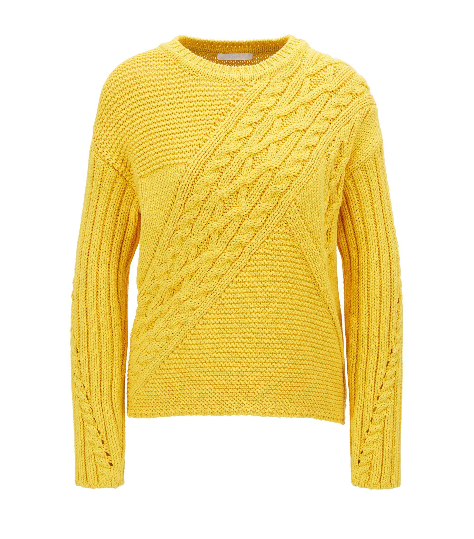 Cotton-blend sweater in a patchworked knit, Yellow