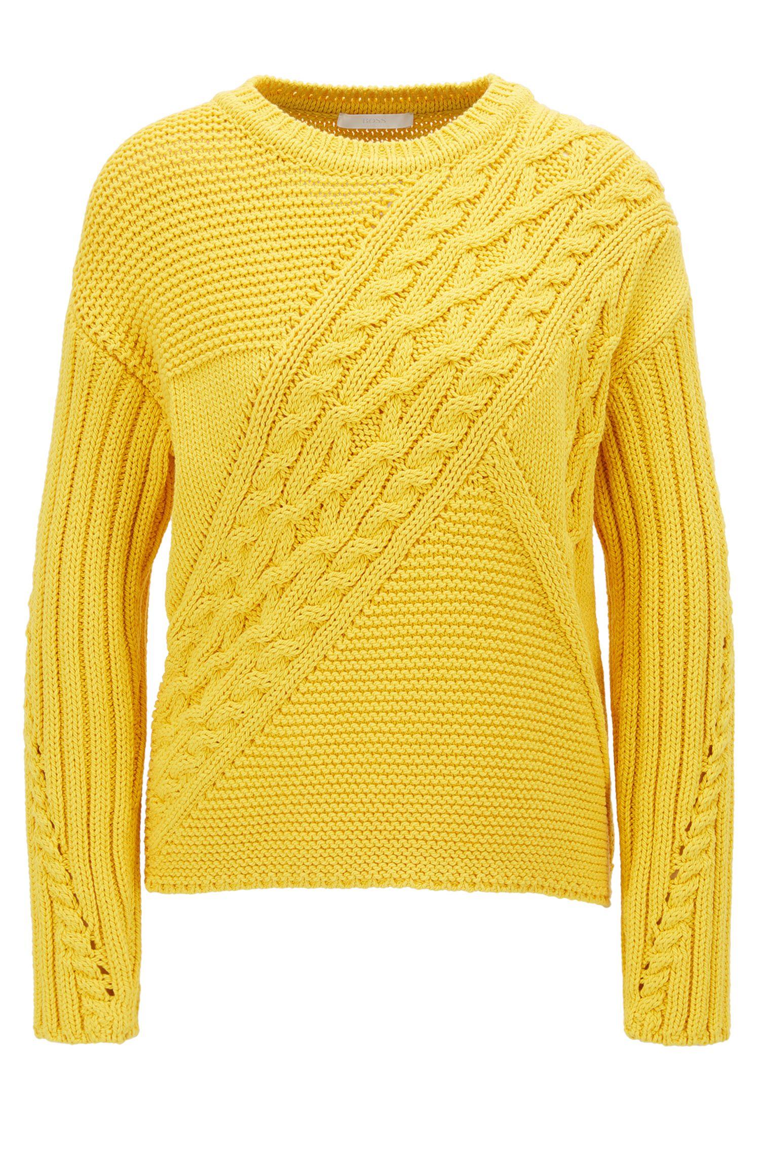 Maglione con lavorazione patchwork in misto cotone
