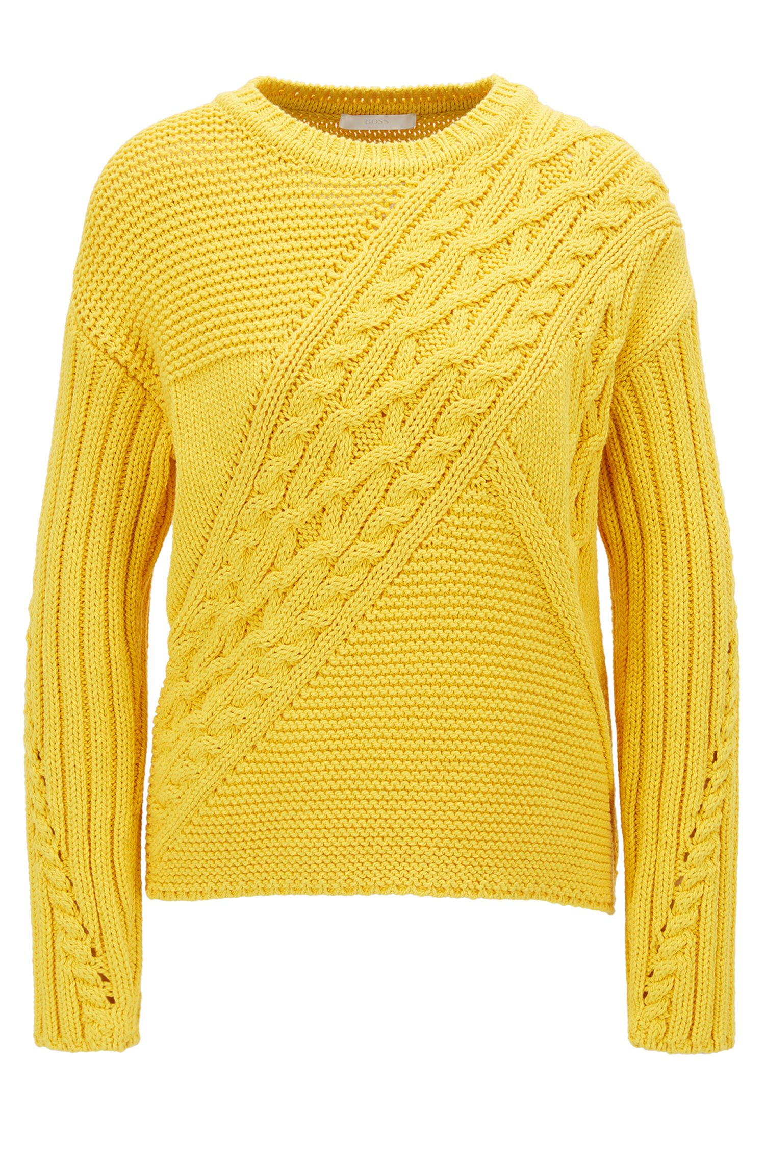 Cotton-blend sweater in a patchworked knit