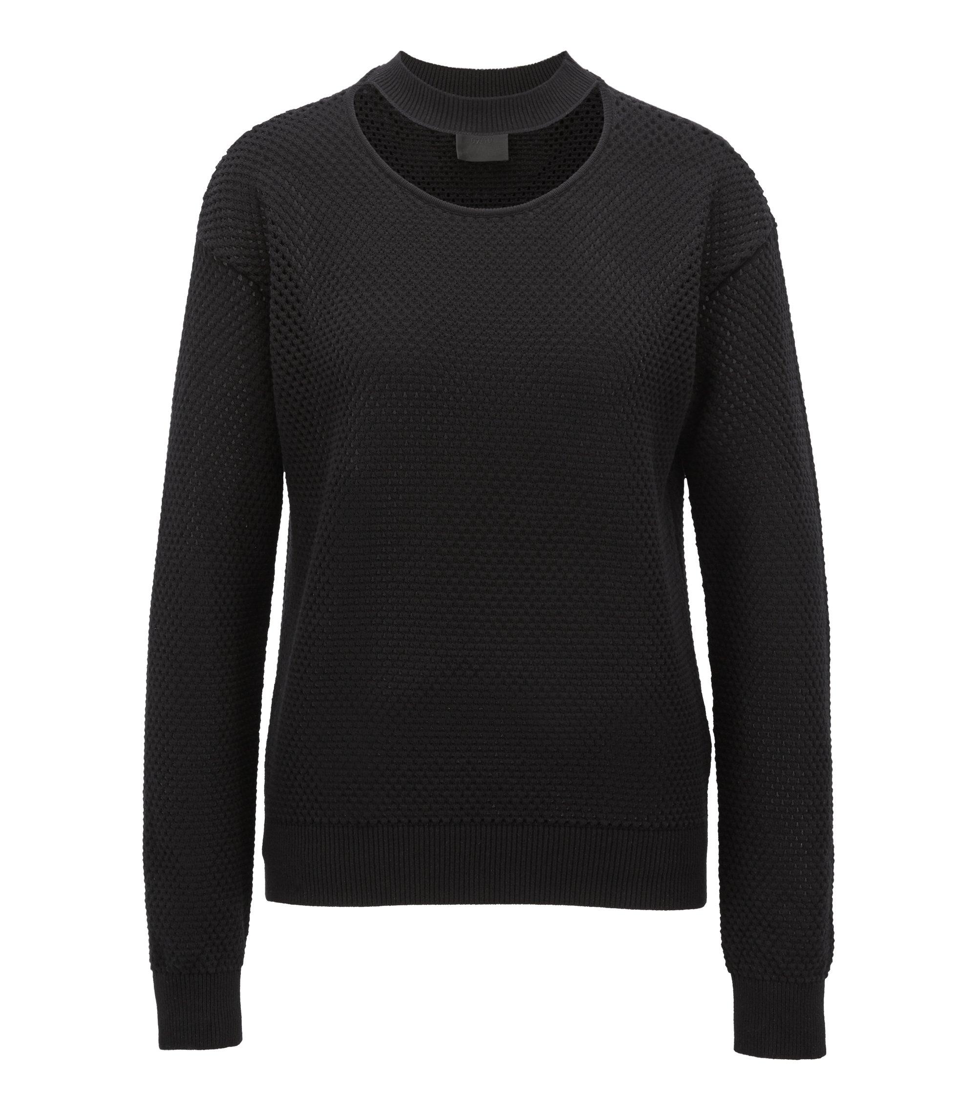 Cutout-detail neckline sweater in stretch mesh, Black