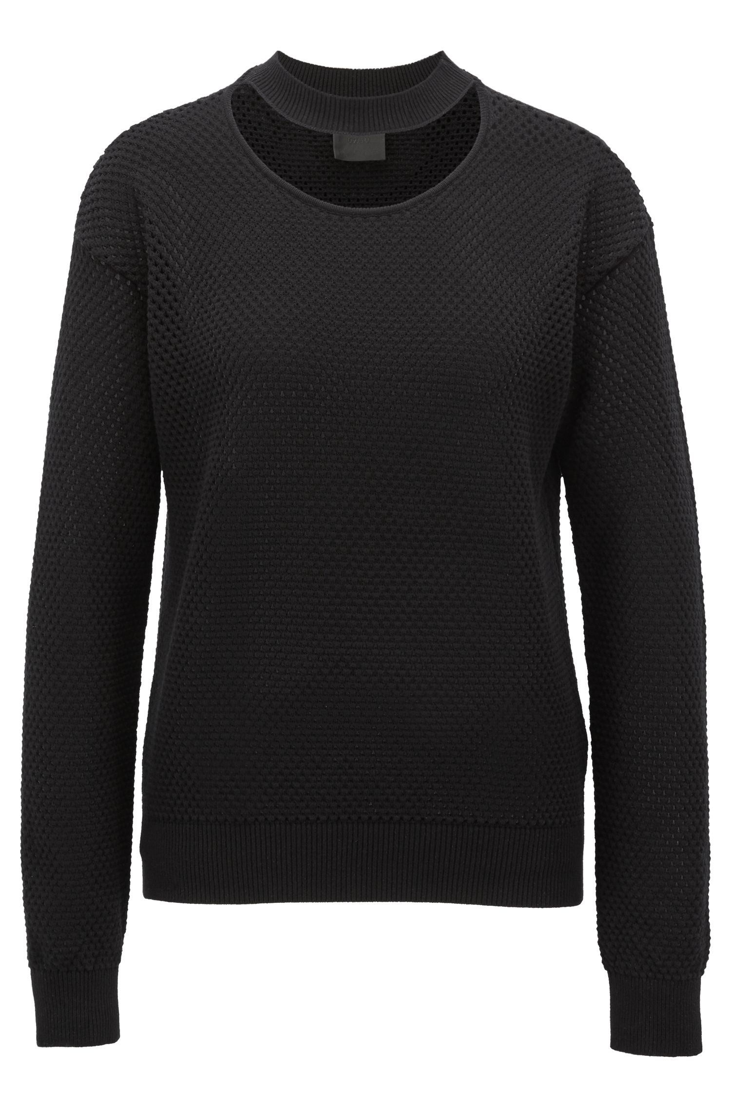 Pullover aus elastischem Mesh mit Cutout am Ausschnitt
