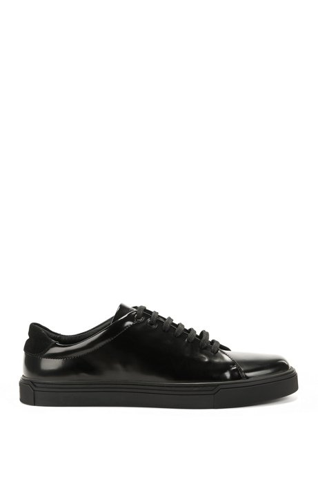 Tennis-inspired trainers in brush-off calf leather BOSS ChAs8Lj