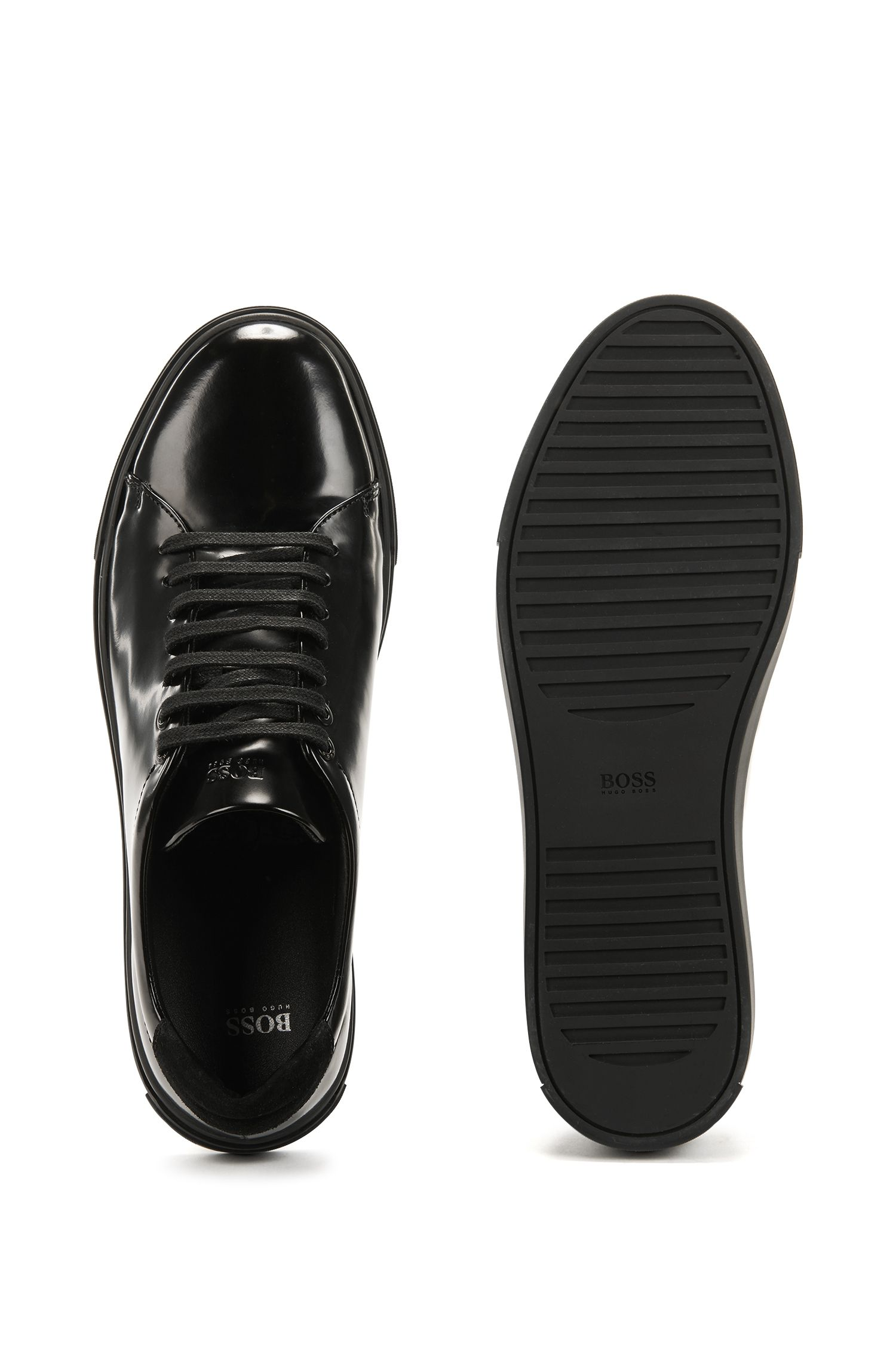 Tennis-inspired trainers in brush-off calf leather BOSS