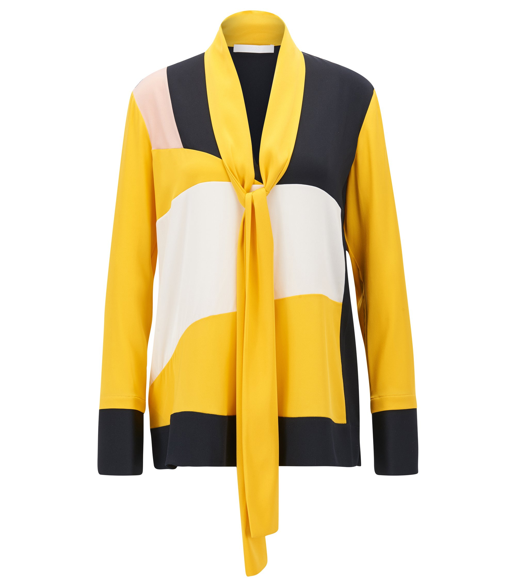 Colour-block regular-fit blouse in stretch silk with bow tie neck, Yellow