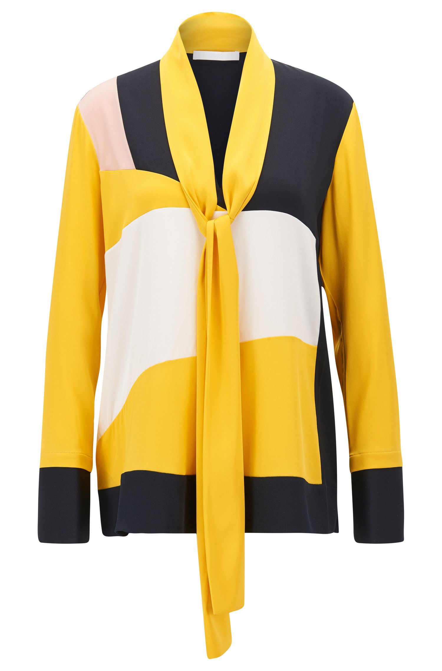 Colour-block regular-fit blouse in stretch silk with bow tie neck