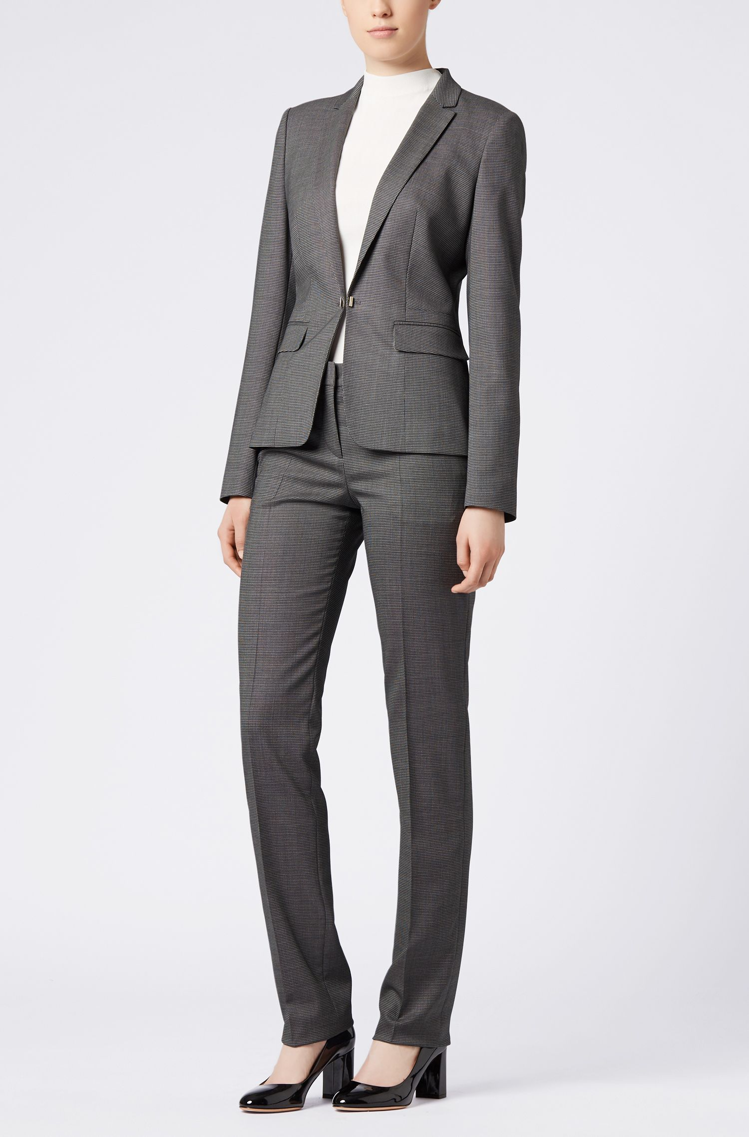 Regular-fit jacket in patterned stretch wool