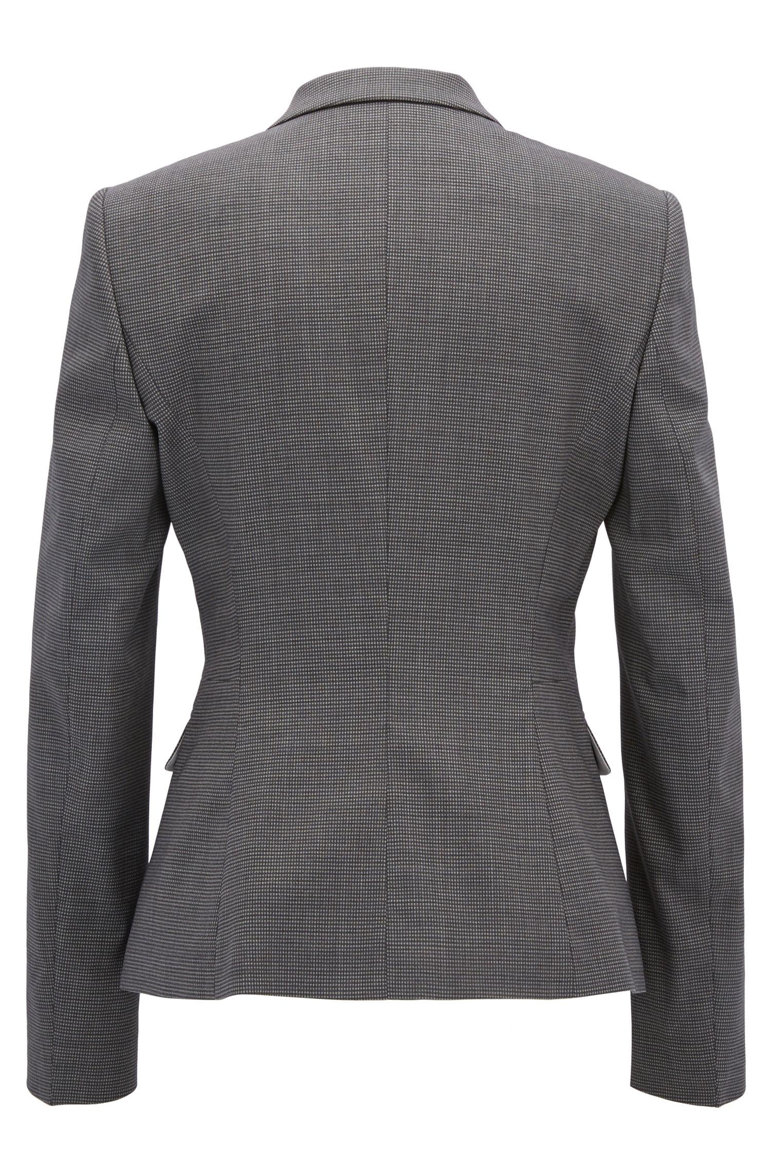 Giacca regular fit in lana elasticizzata a disegni