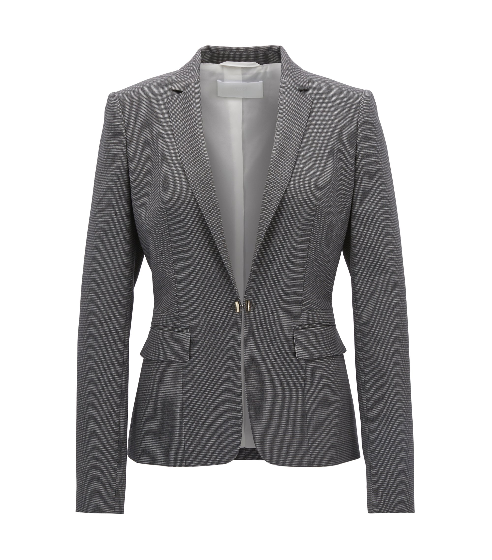 Regular-fit jacket in patterned stretch wool, Patterned