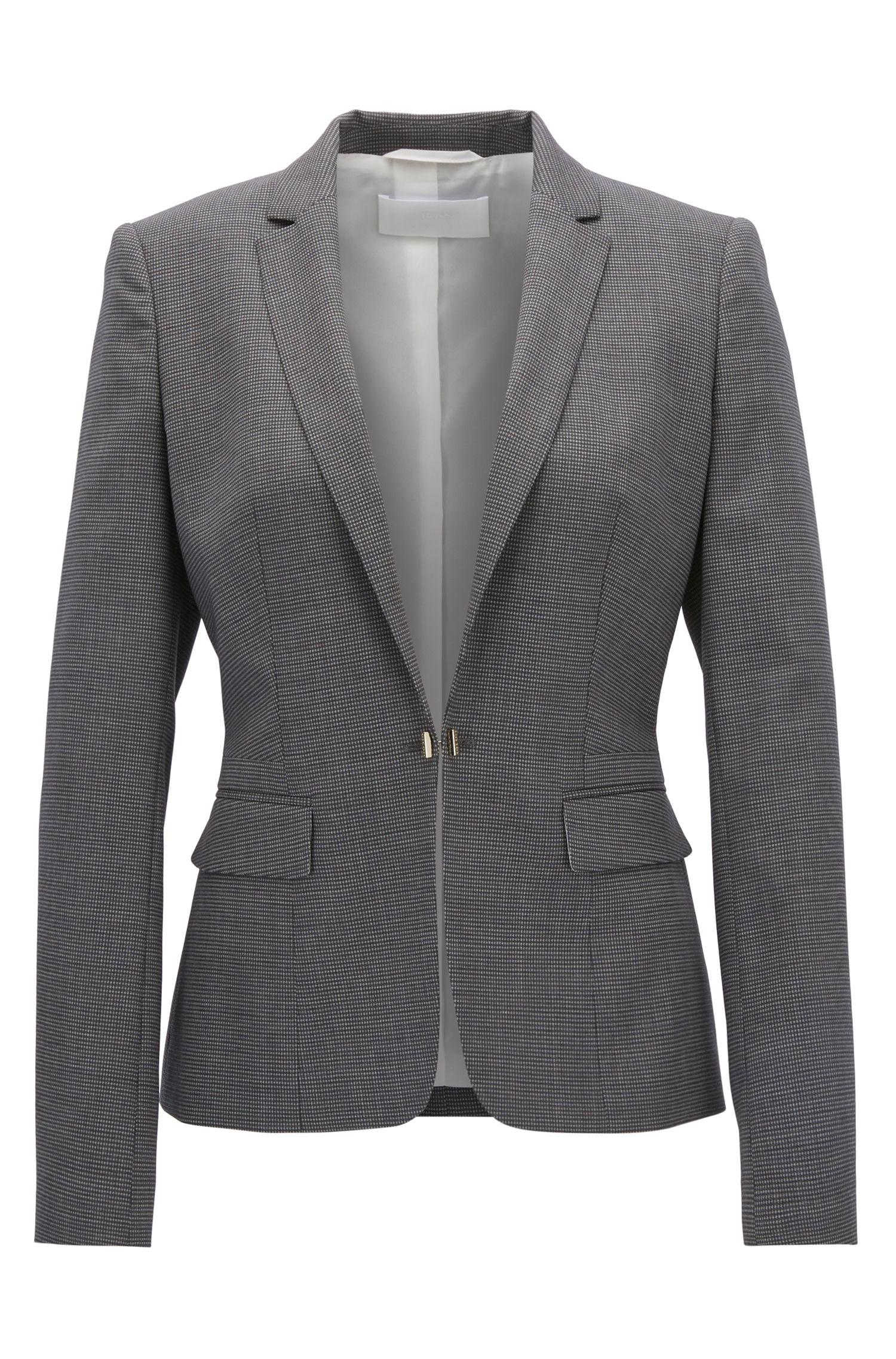 Regular-fit blazer van scheerwol met dessin
