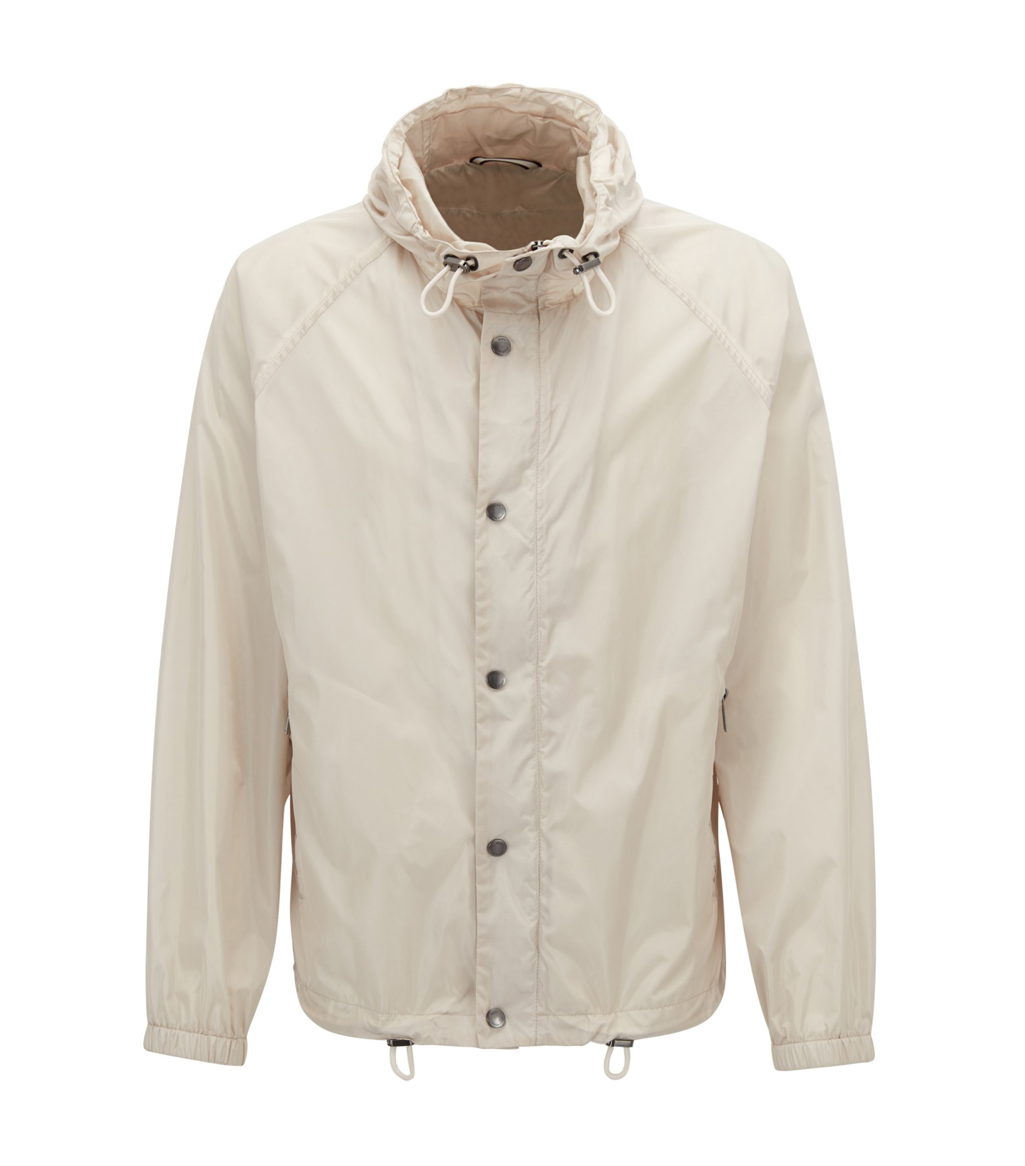 Water-repellent lightweight hooded windbreaker jacket , Natural