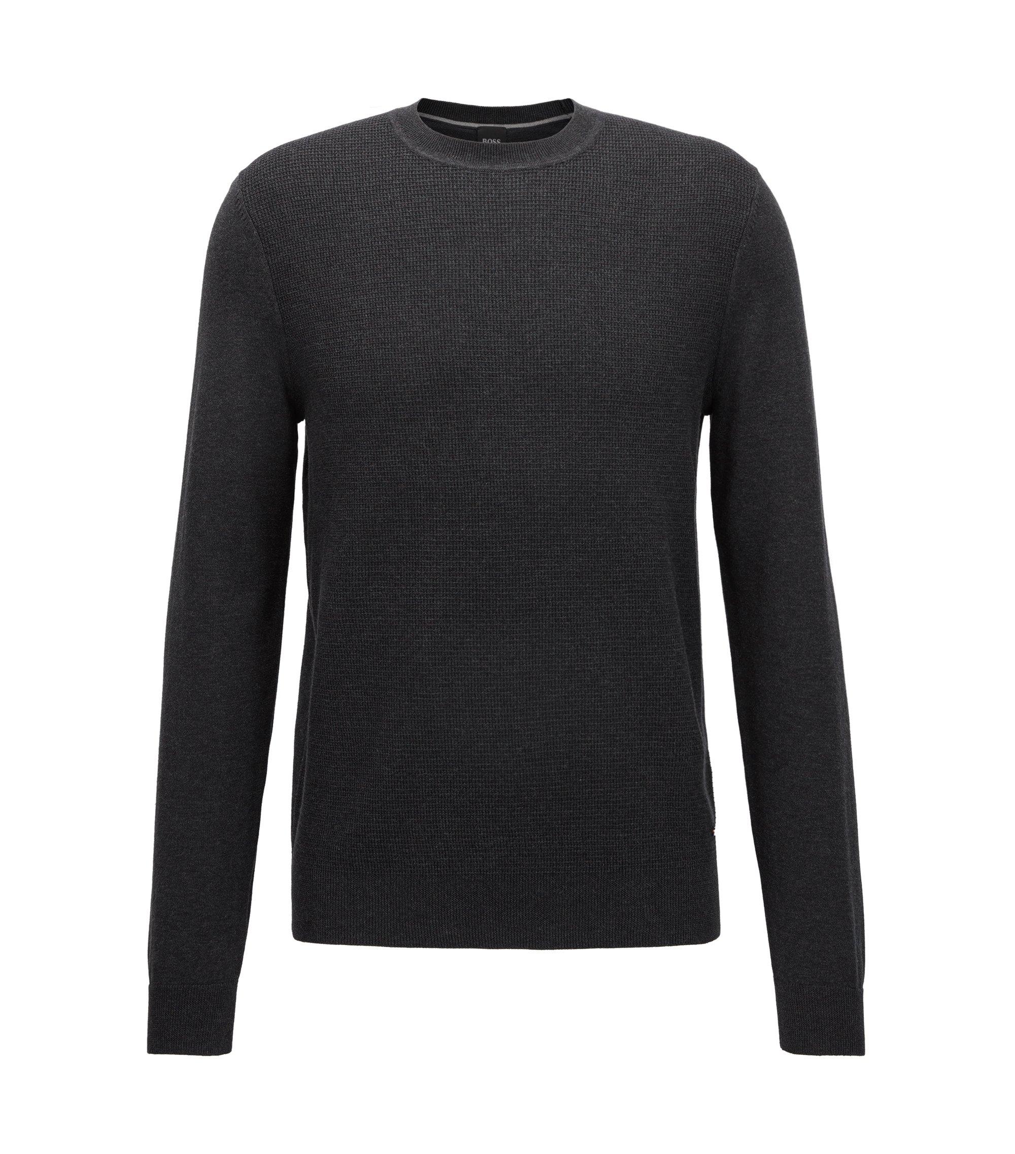 Pullover aus Baumwolle mit strukturierter Vorderseite, Schwarz
