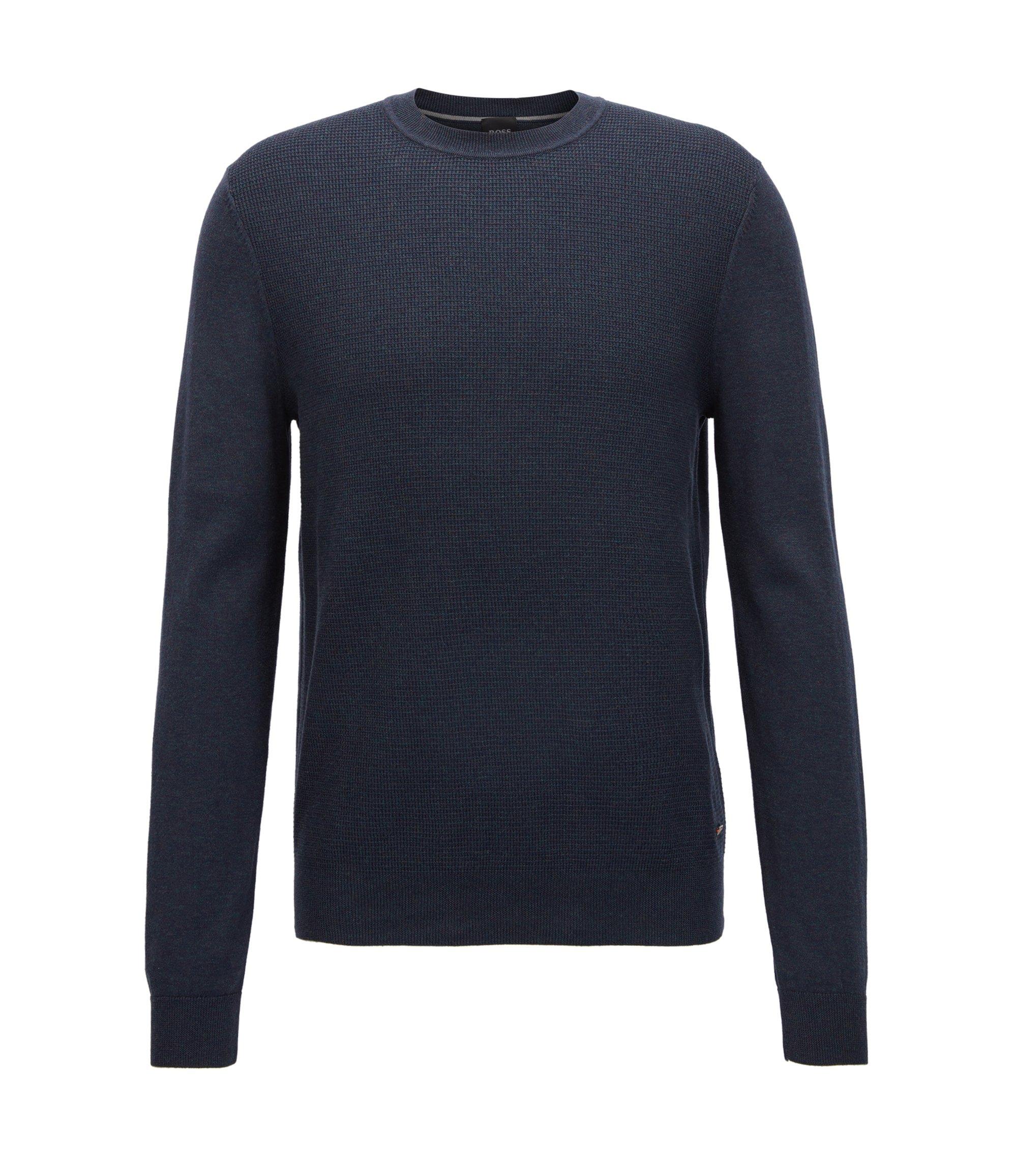 Pullover aus Baumwolle mit strukturierter Vorderseite, Dunkelblau