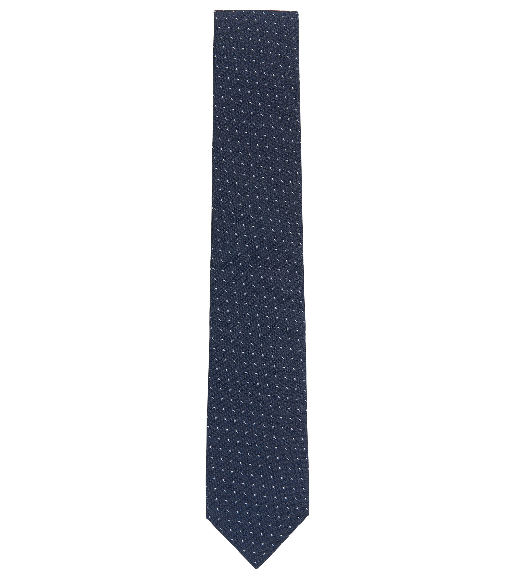Italian-made tie in micro-pattern silk jacquard, Dark Blue