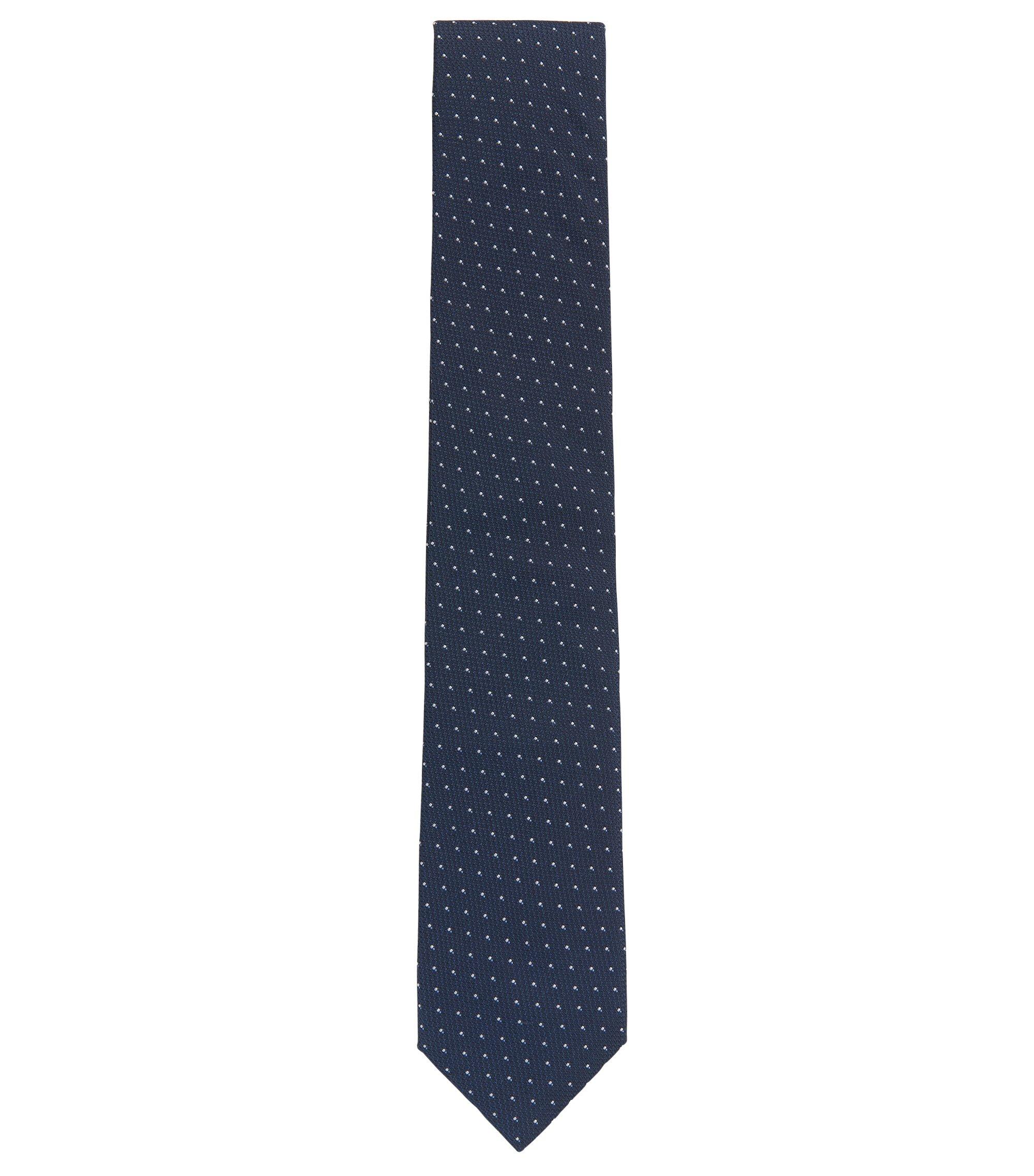 In Italien gefertigte Krawatte aus gemustertem Seiden-Jacquard, Dunkelblau