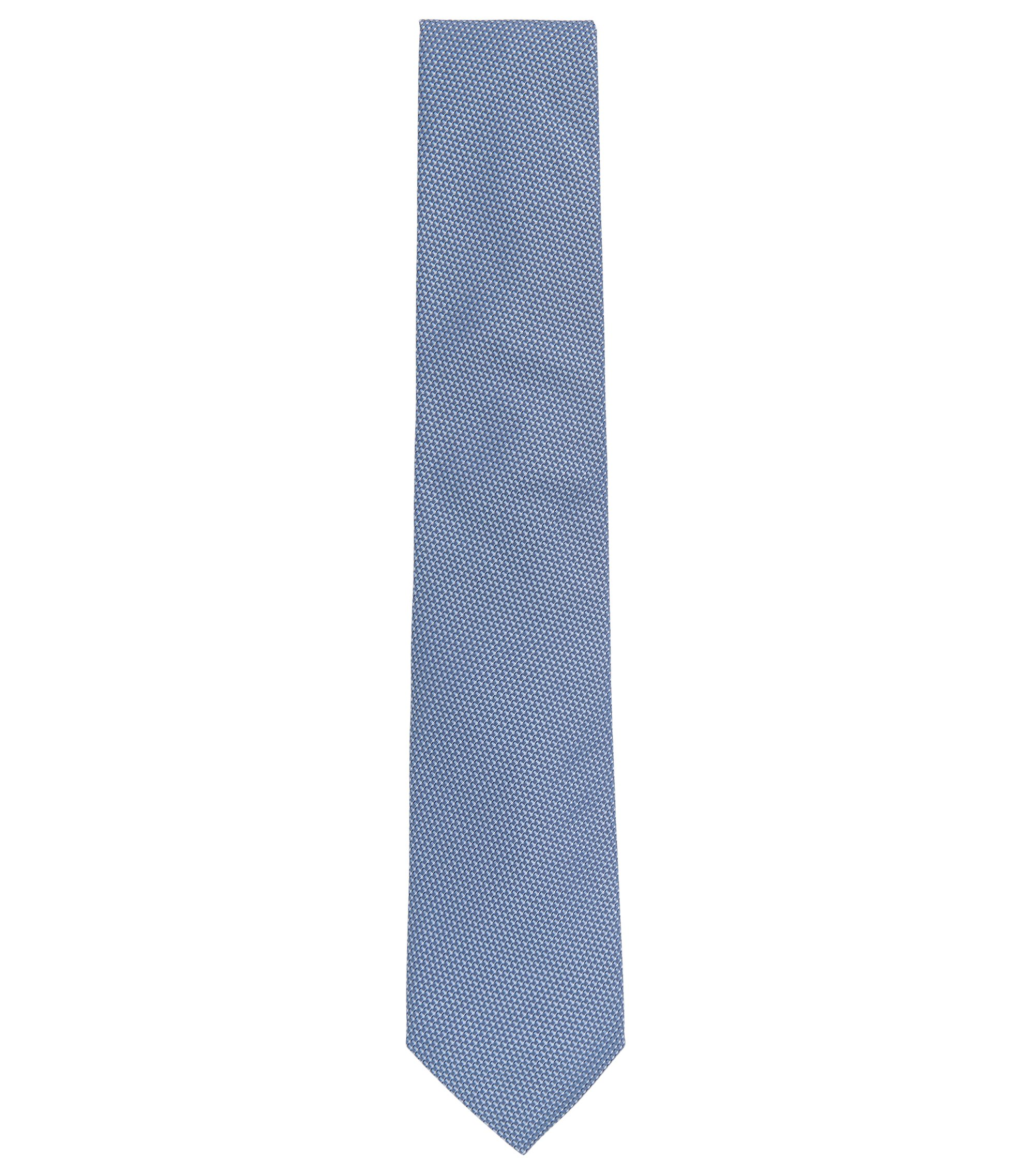 Italian-made tie in micro-pattern silk jacquard, Blue