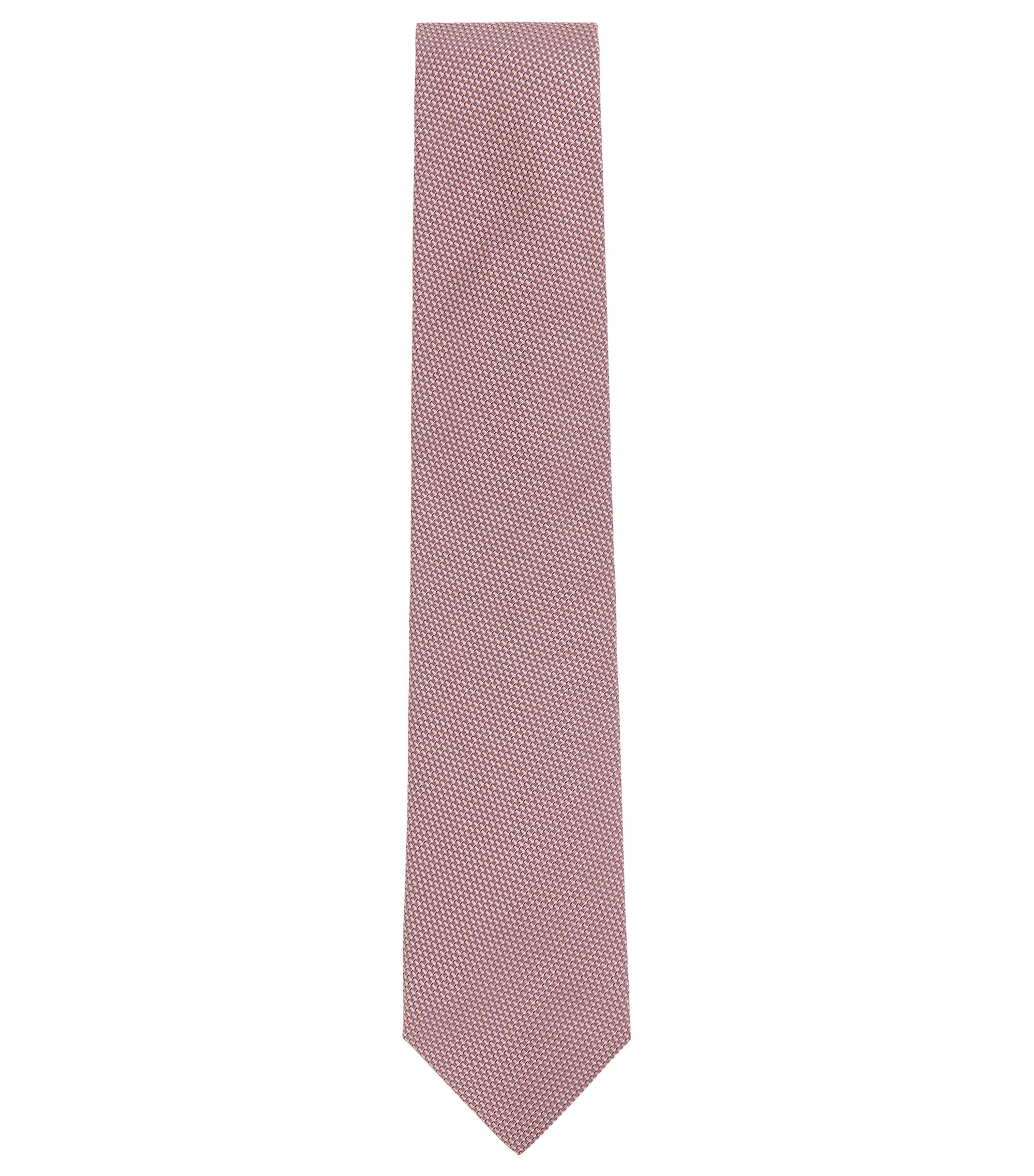 Italian-made tie in micro-pattern silk jacquard, light pink
