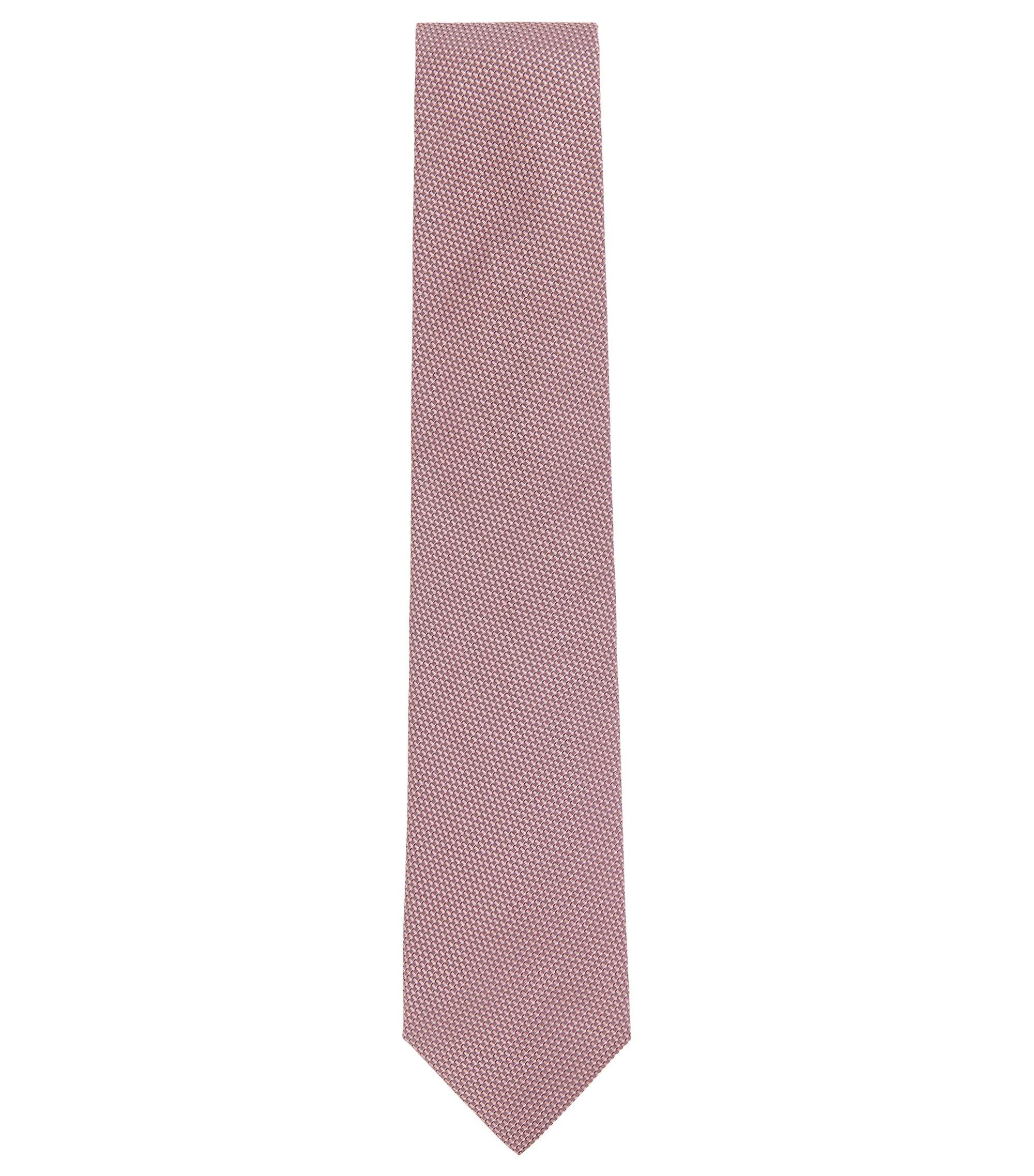In Italië vervaardigde stropdas in een jacquard van zijde met microdessin, Lichtroze