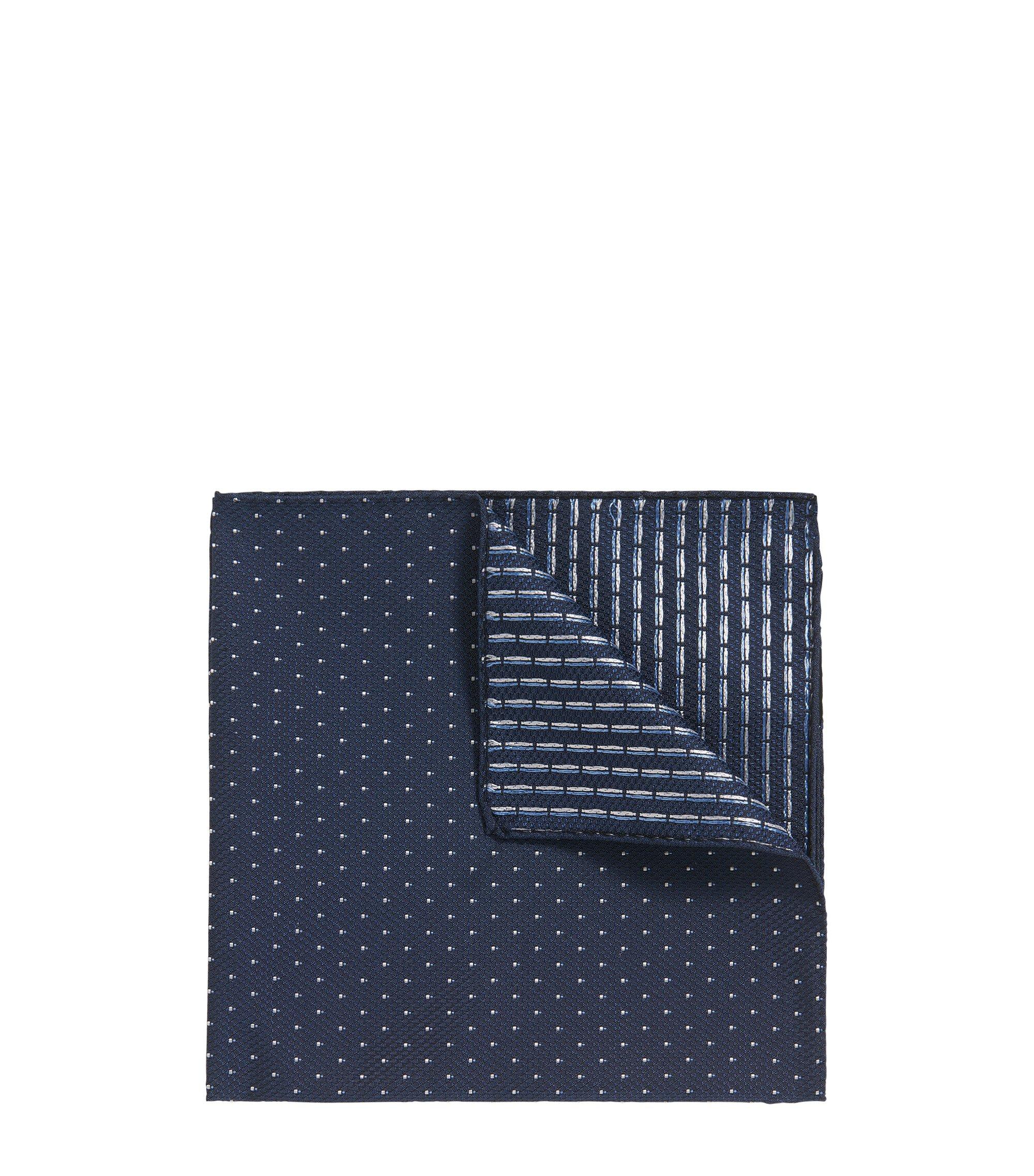 Pañuelo de bolsillo reversible en jacquard de seda con microestampado, Azul oscuro