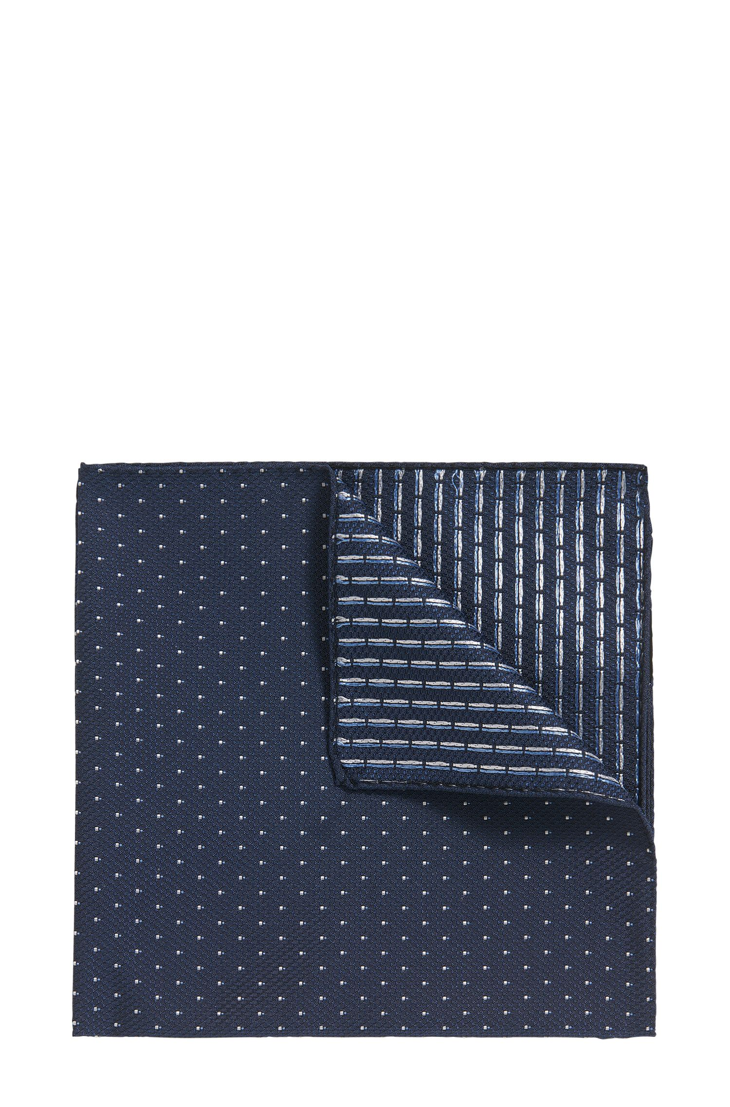 Reversible silk-jacquard pocket square with micro pattern