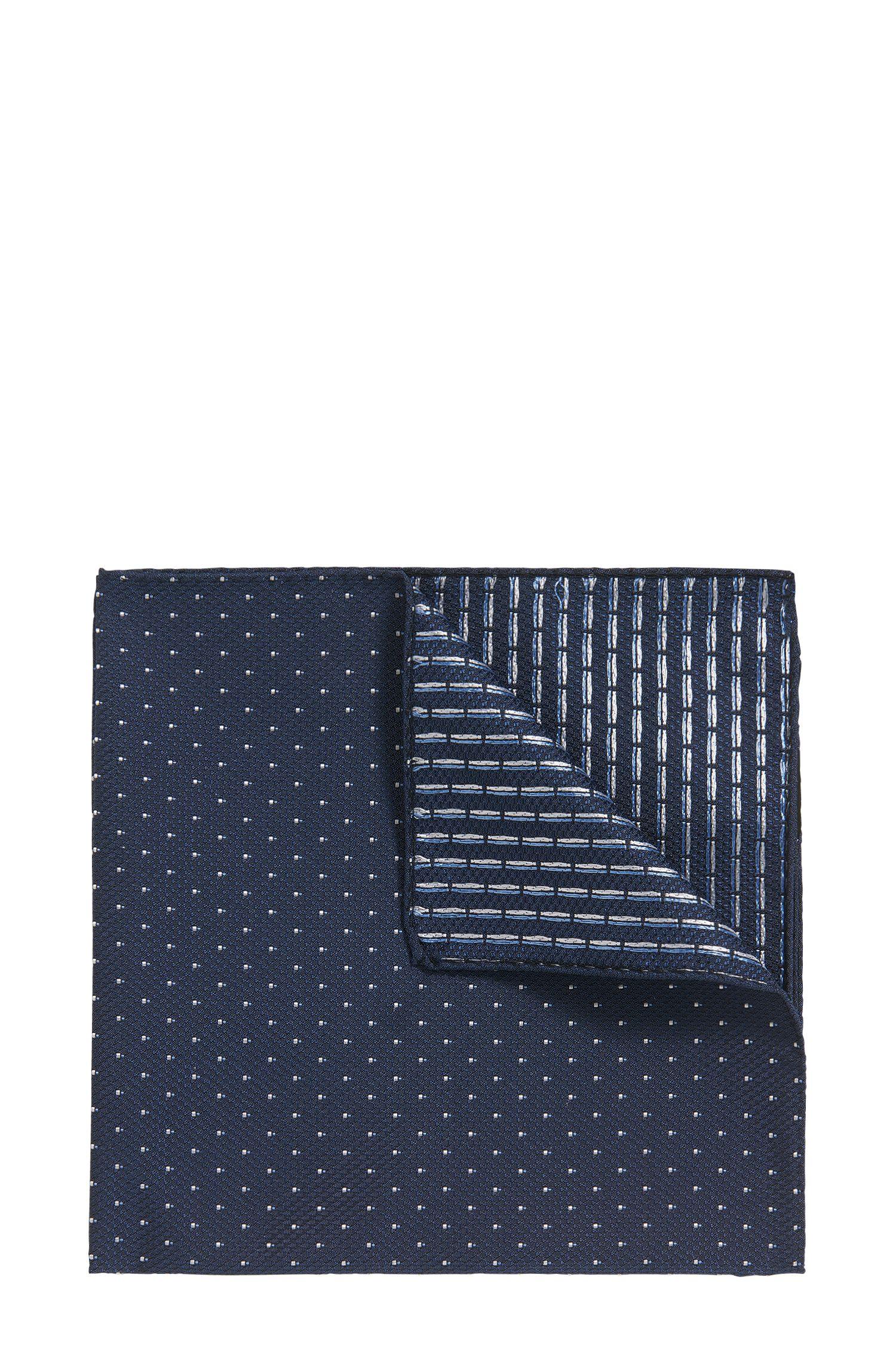 Pañuelo de bolsillo reversible en jacquard de seda con microestampado