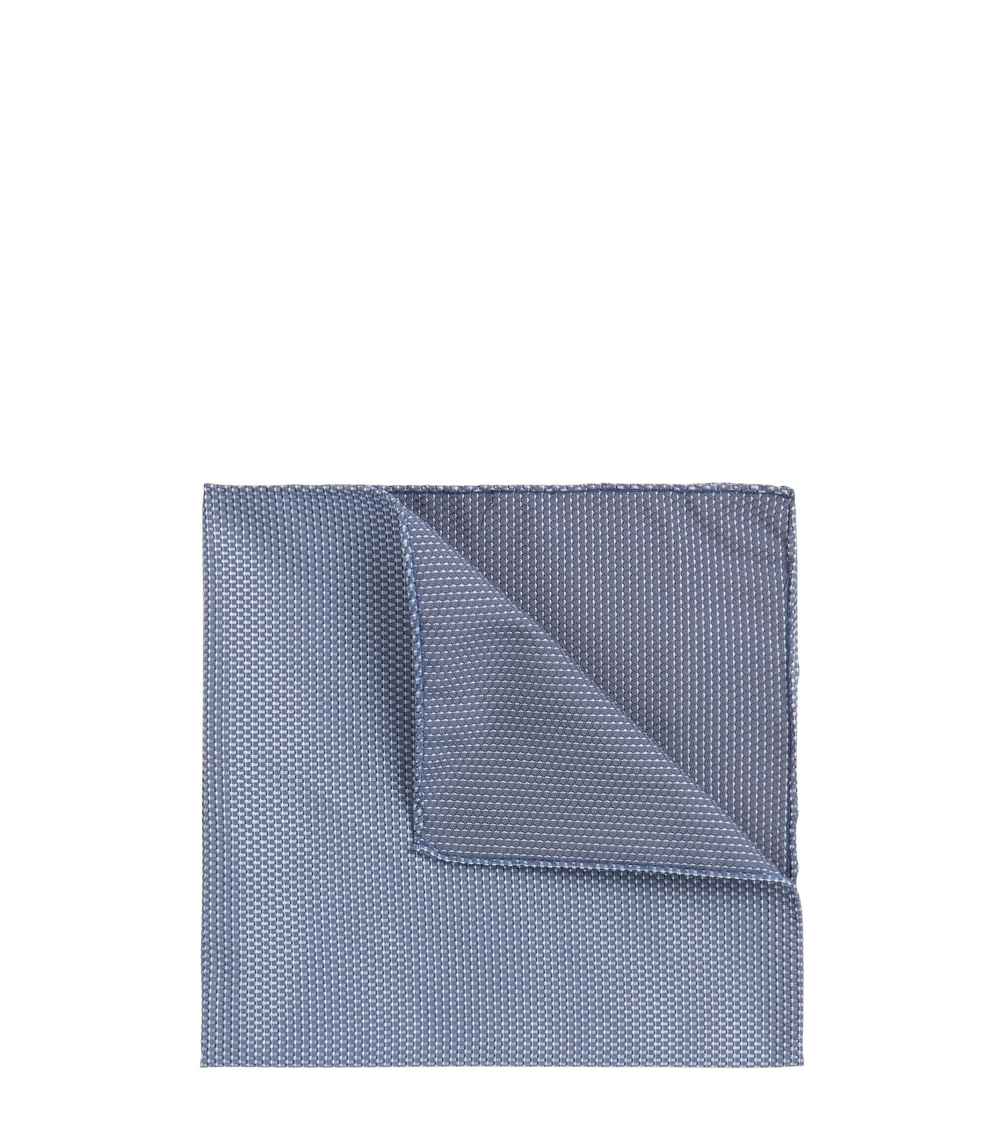 Reversible silk-jacquard pocket square with micro pattern, Dark Blue