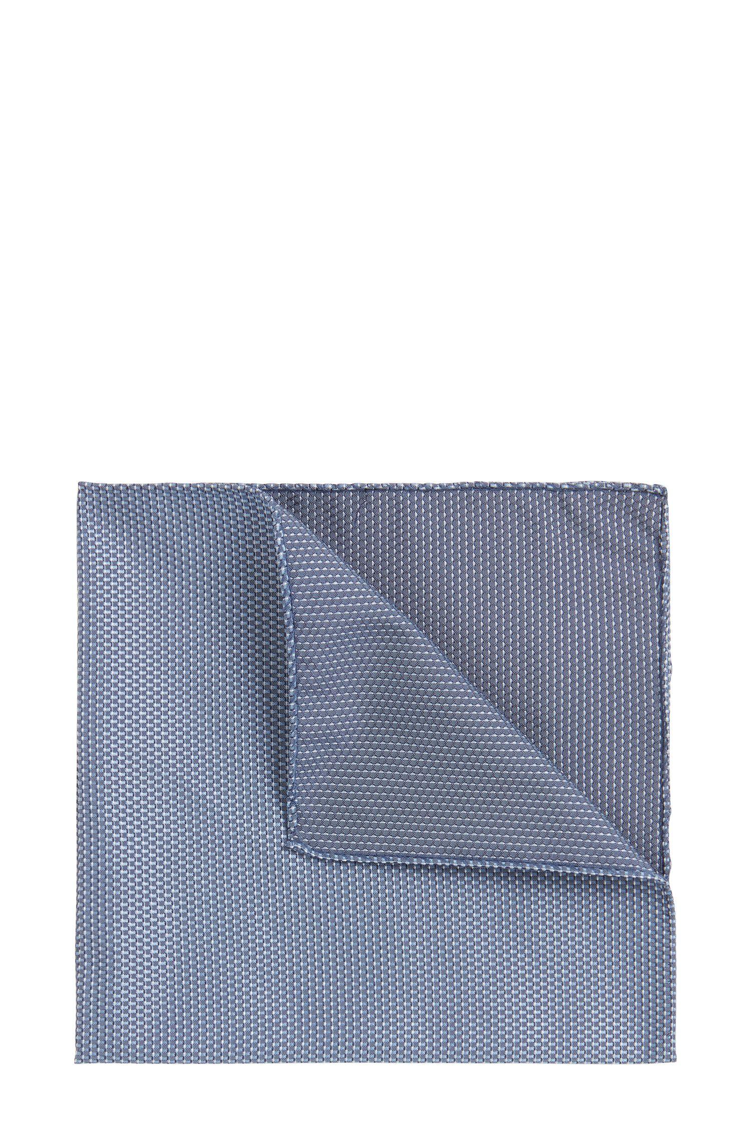 Tweezijdig te dragen pochet in een jacquard van zijde met microdessin