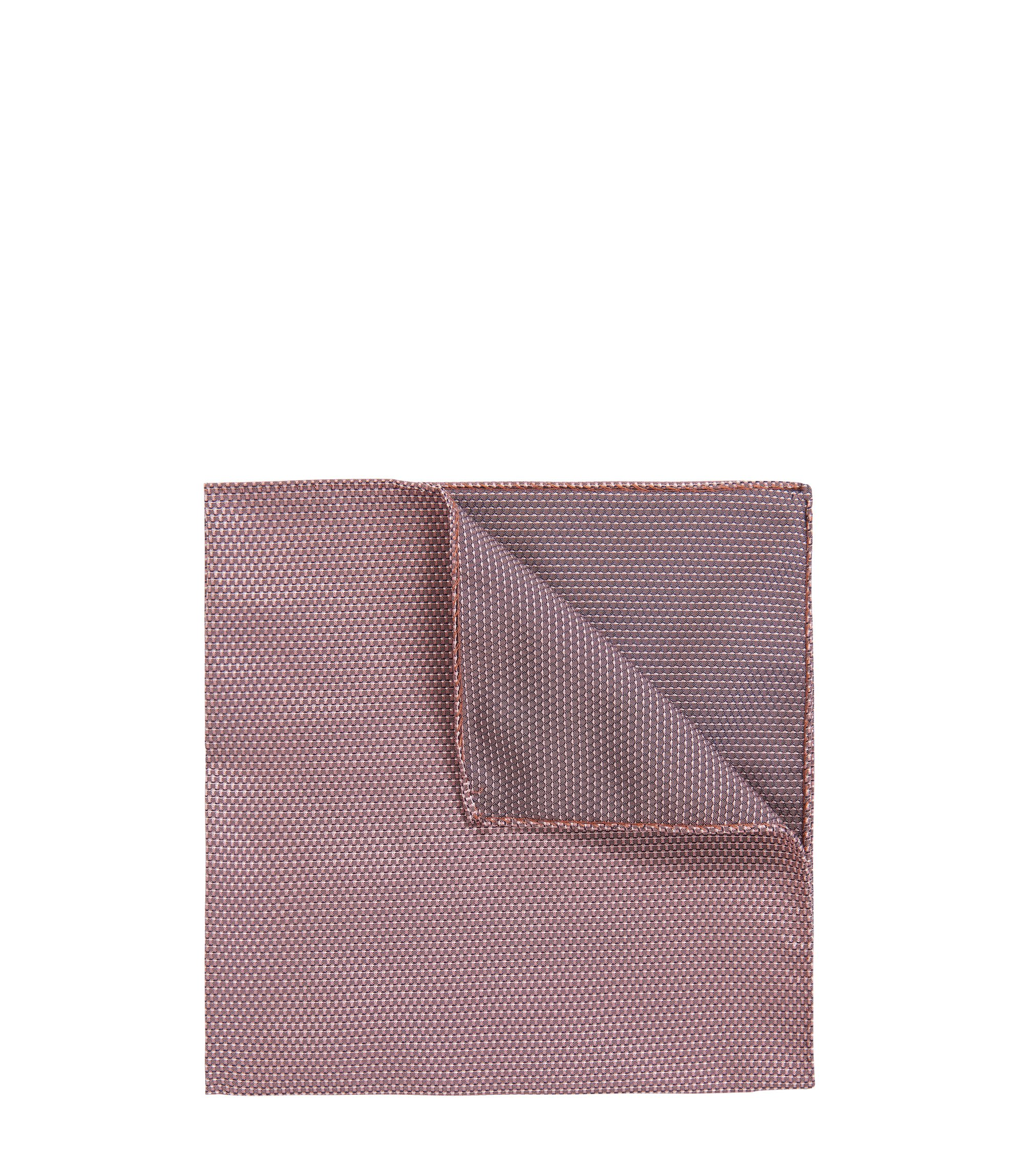 Reversible silk-jacquard pocket square with micro pattern, Dark Red