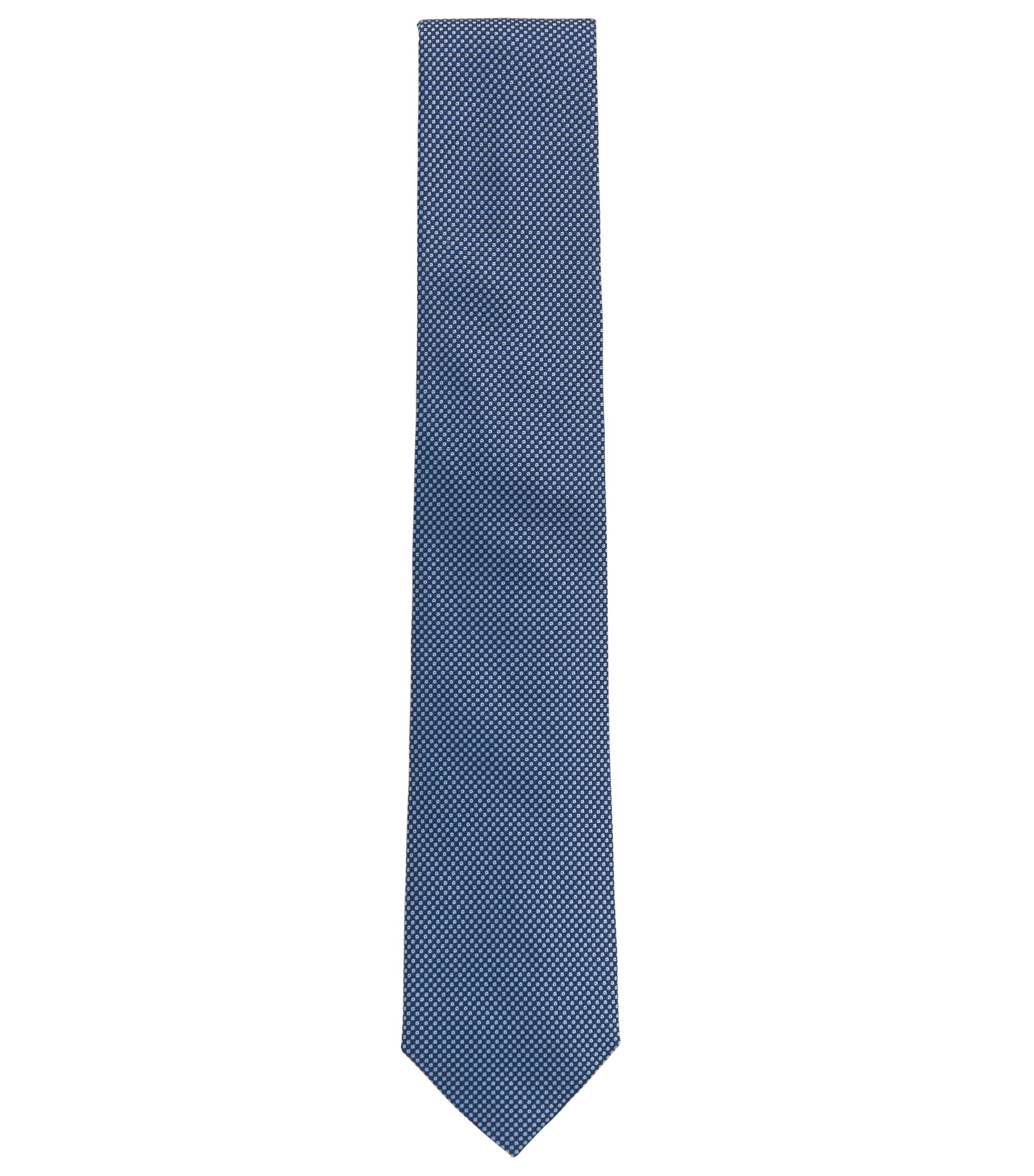 Italian-made tie in patterned silk jacquard, Blue