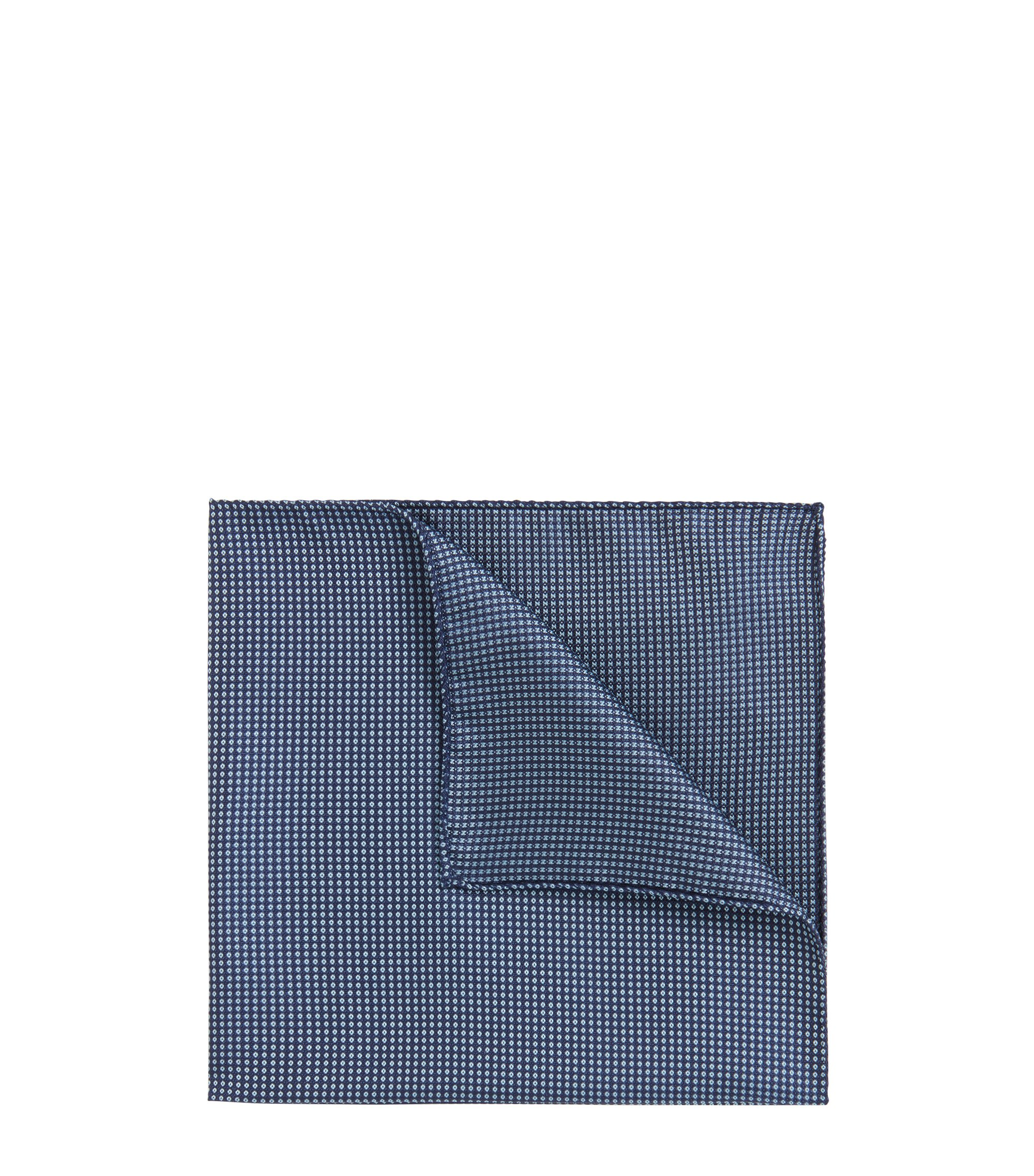 Patterned pocket square in silk jacquard, Dark Blue